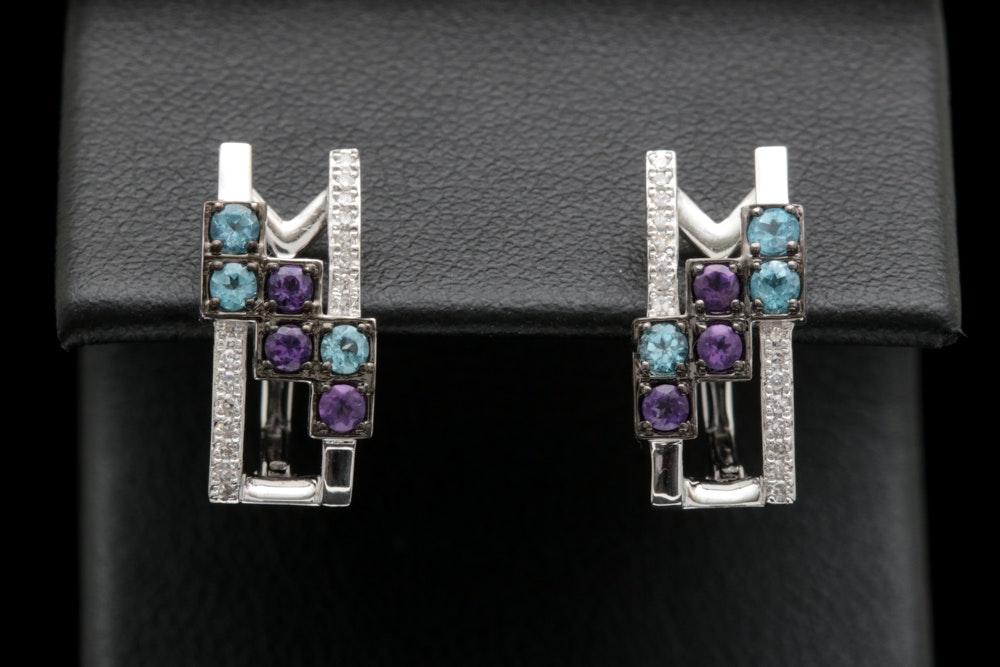 14K White Gold, Blue Topaz, Amethyst and Diamond Earrings