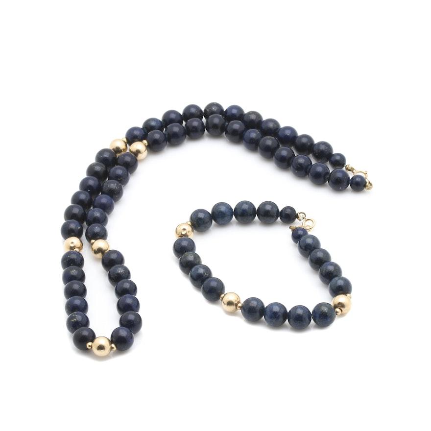 14k yellow gold lapis lazuli necklace and bracelet. Black Bedroom Furniture Sets. Home Design Ideas