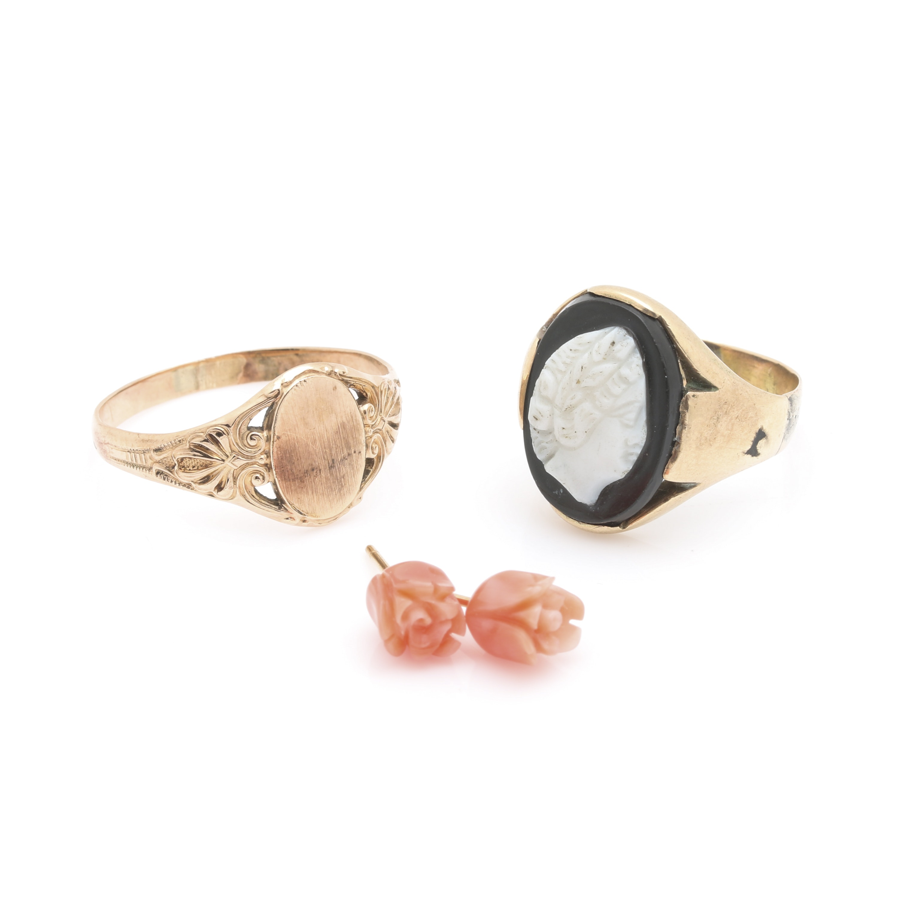 14k yellow gold coral earrings with vintage gold filled cameo and signet rings