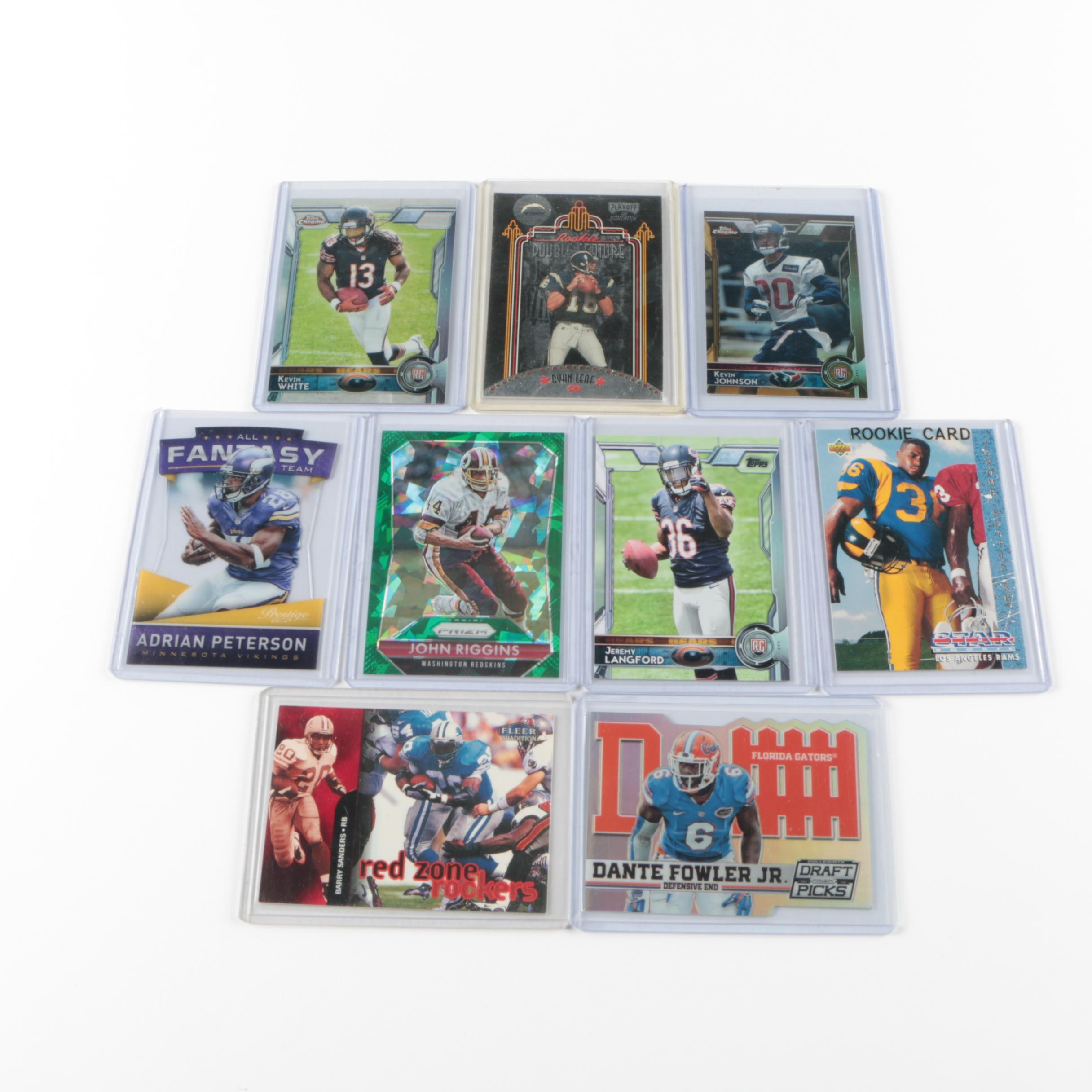 Assorted Football Trading Cards including Jerome Bettis Rookie Card