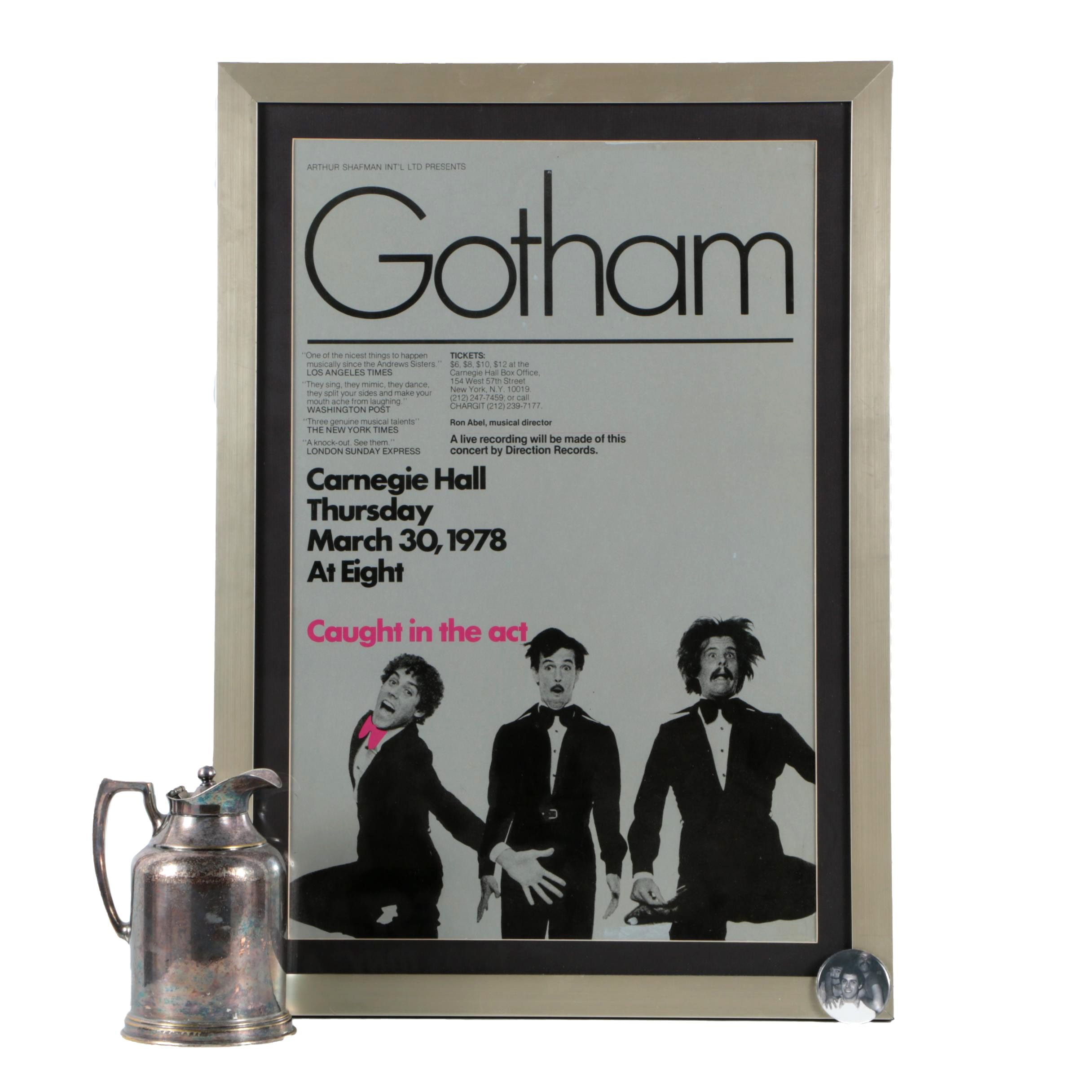 1978 Gotham Poster with Commemorative Pin and Gotham Hotel Pitcher