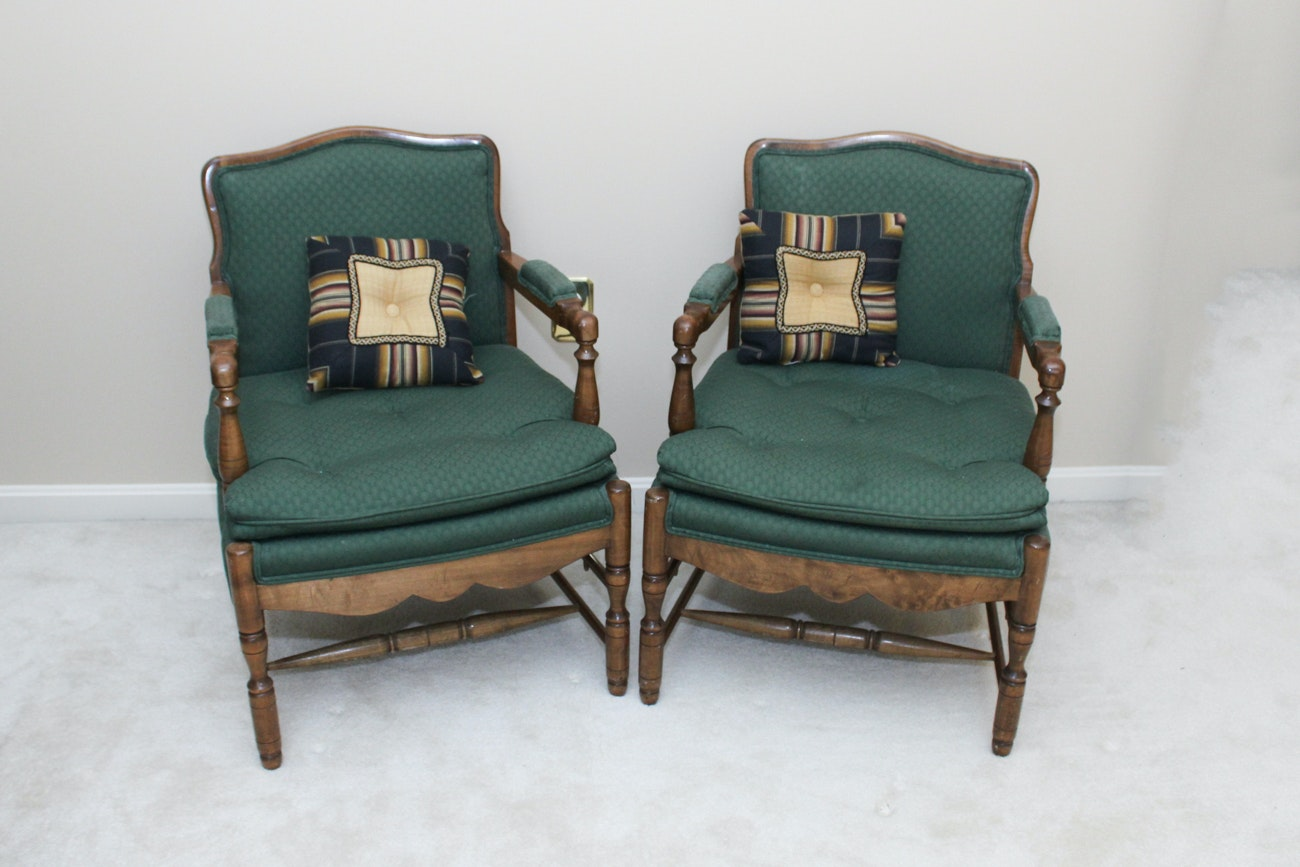 Pair of Wooden Upholstered Armchairs