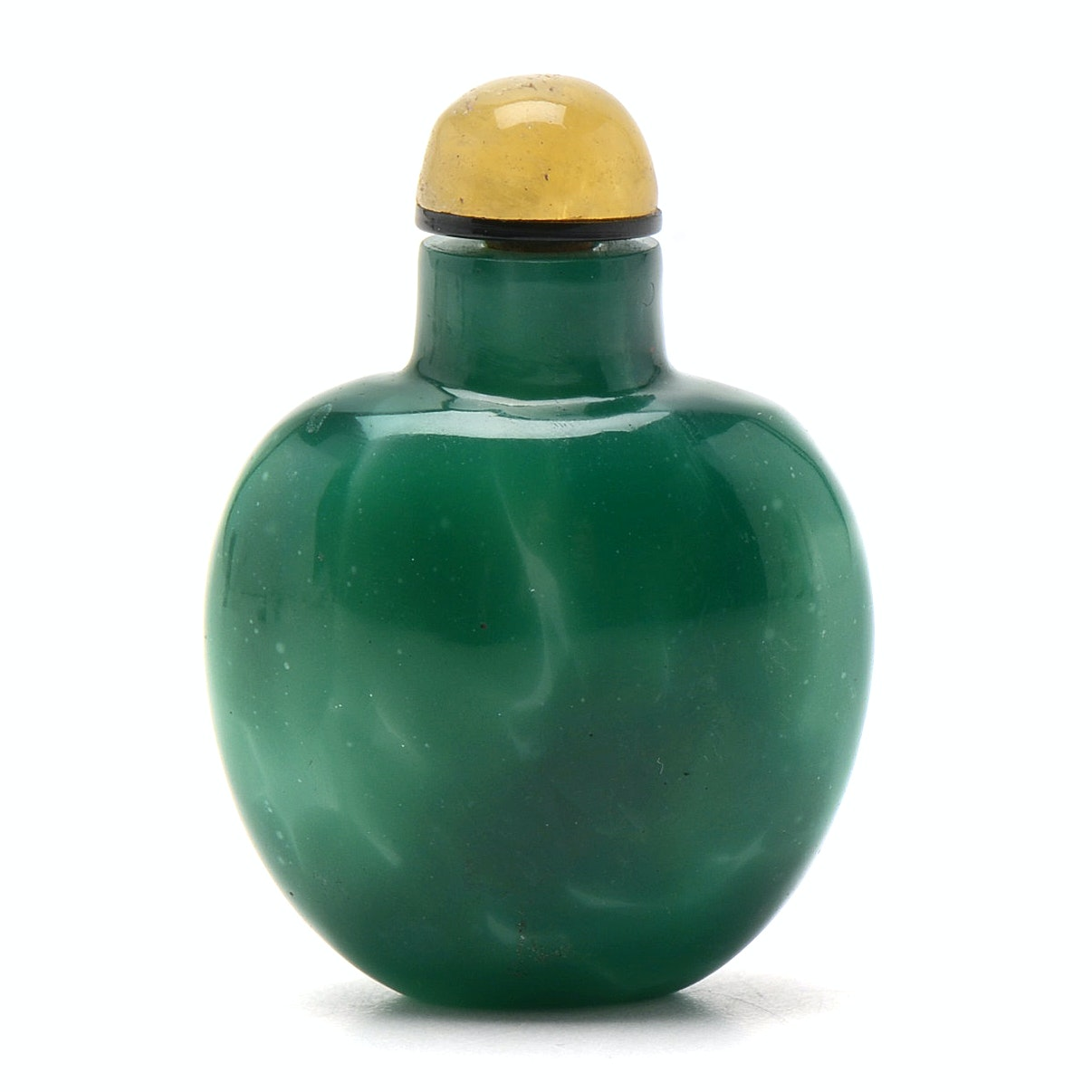 Qing Dynasty Chinese Simulated Jade Green Glass Snuff Bottle