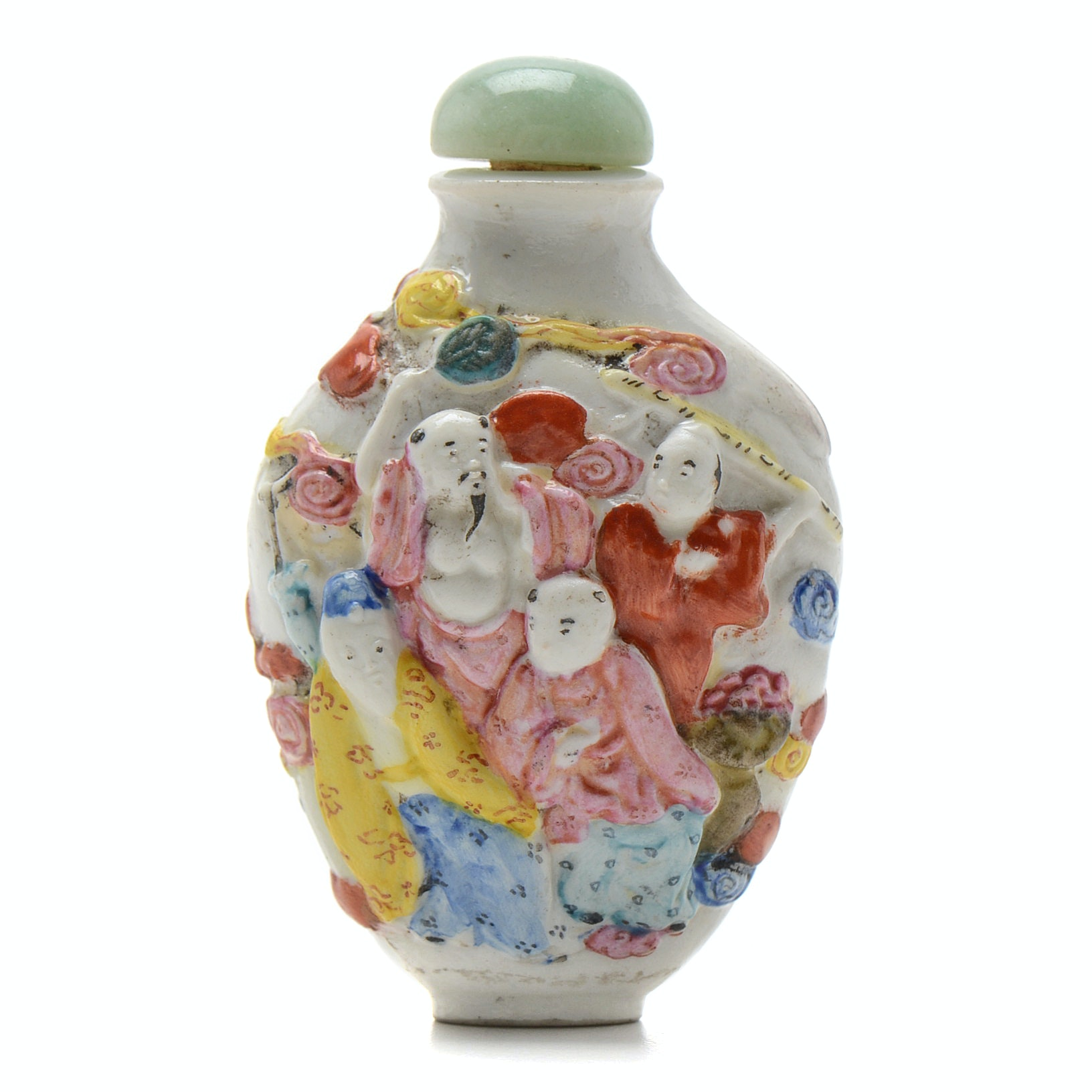 Qing Dynasty Chinese Porcelain Snuff Bottle of Eight Immortals