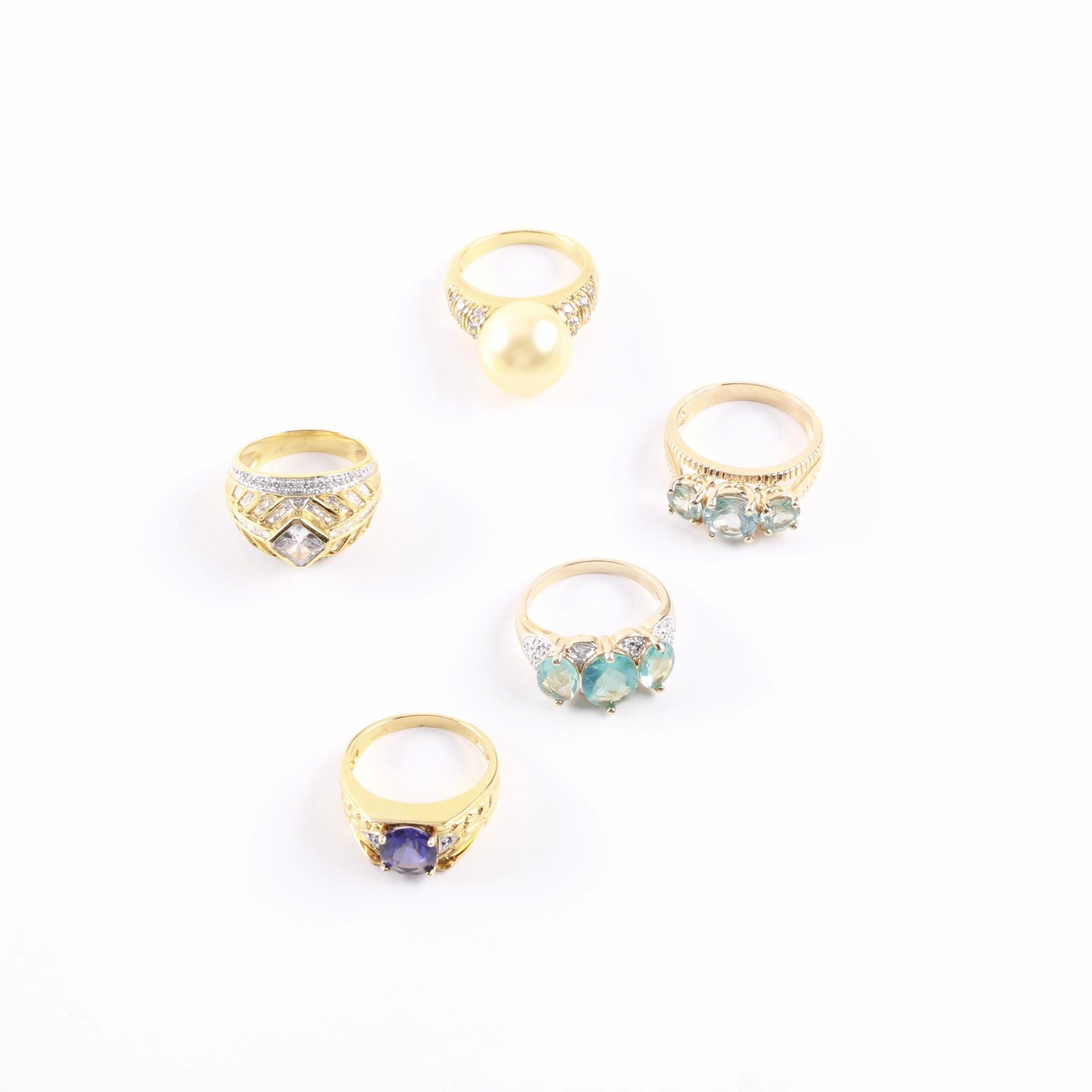 Gold Wash on Sterling Silver Gemstone and Diamond Rings