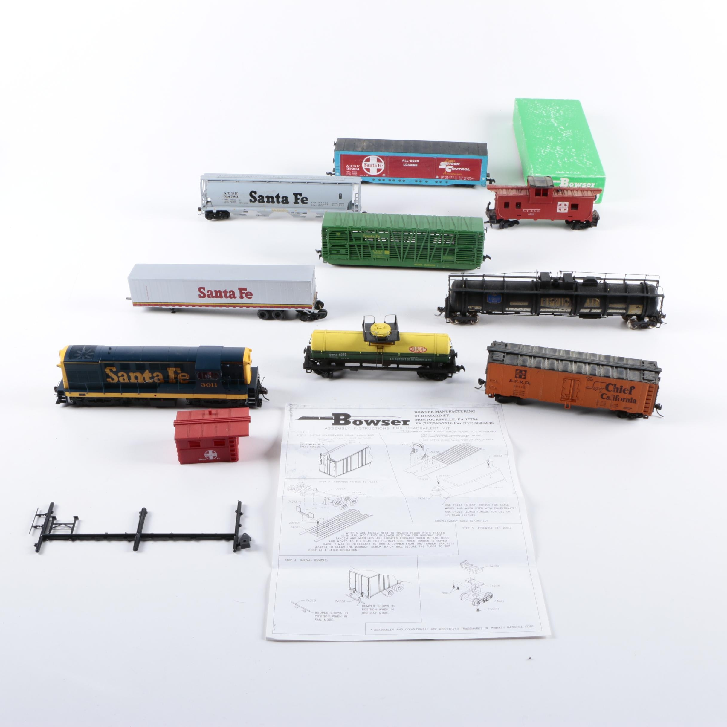 Assorted HO and N Scale Train Cars Including Bowser Model