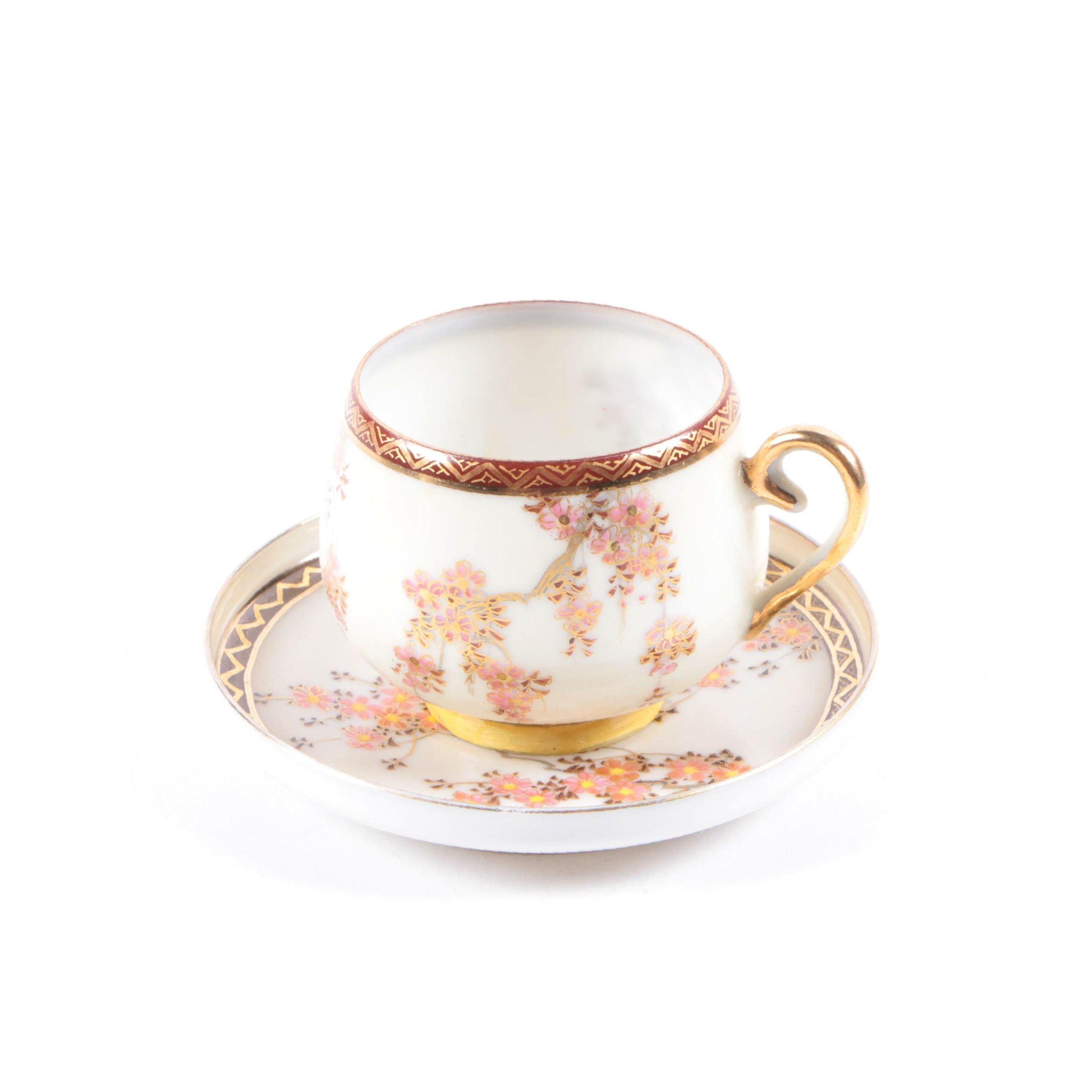 Antique Japanese Porcelain Teacup and Saucer