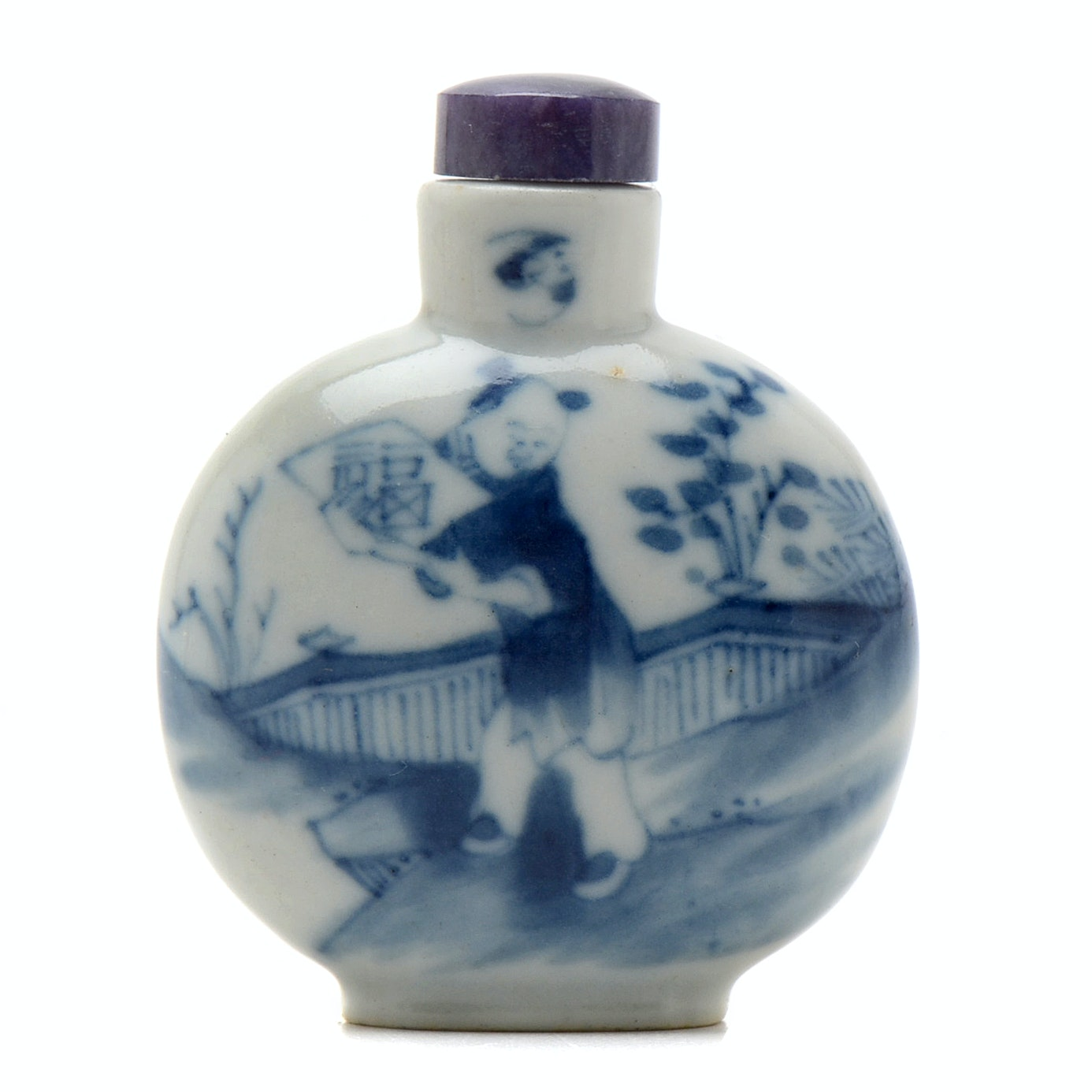 Qing Dynasty Chinese Blue and White Porcelain Snuff Bottle