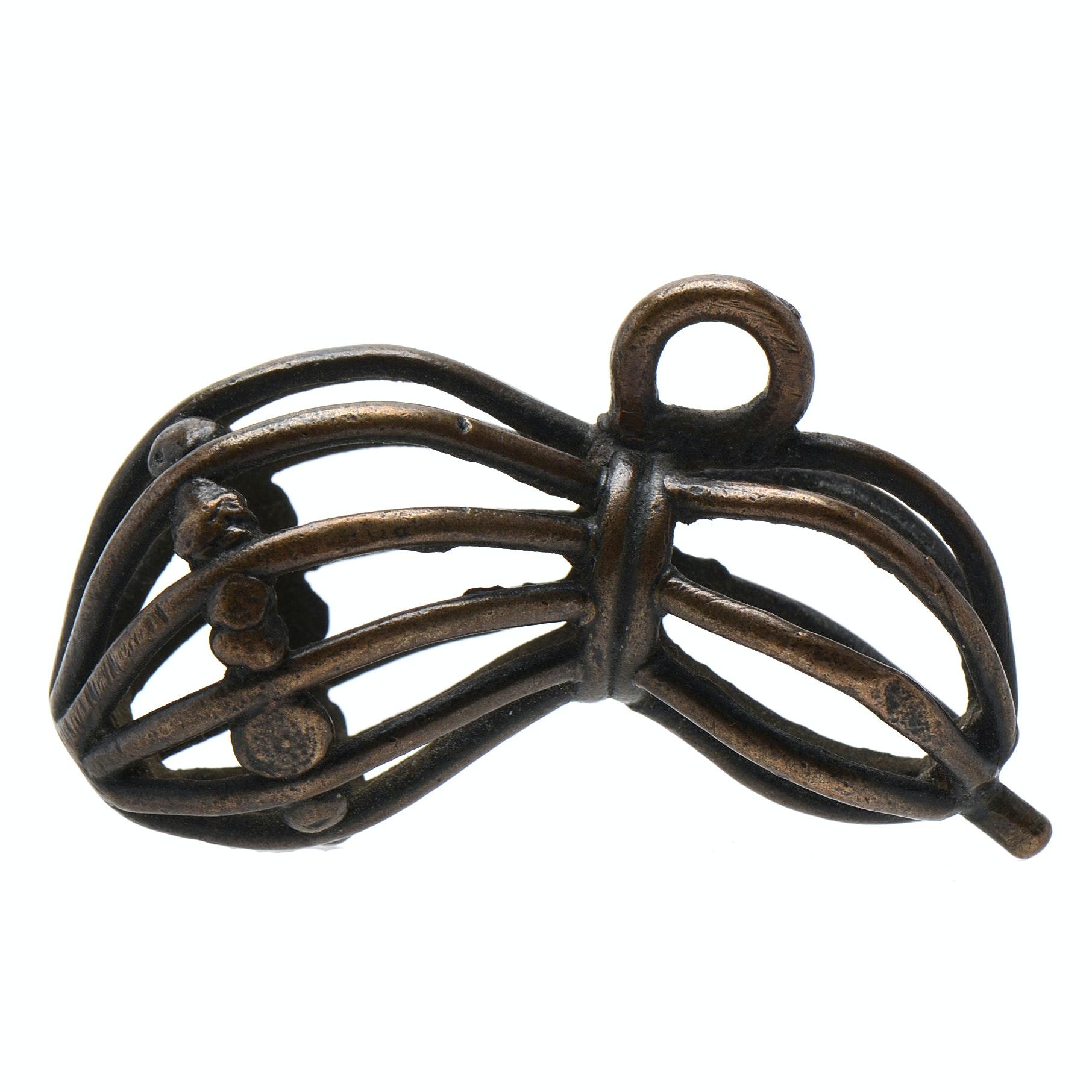 Japanese Unusual Metal Wire Gourd Shape Netsuke