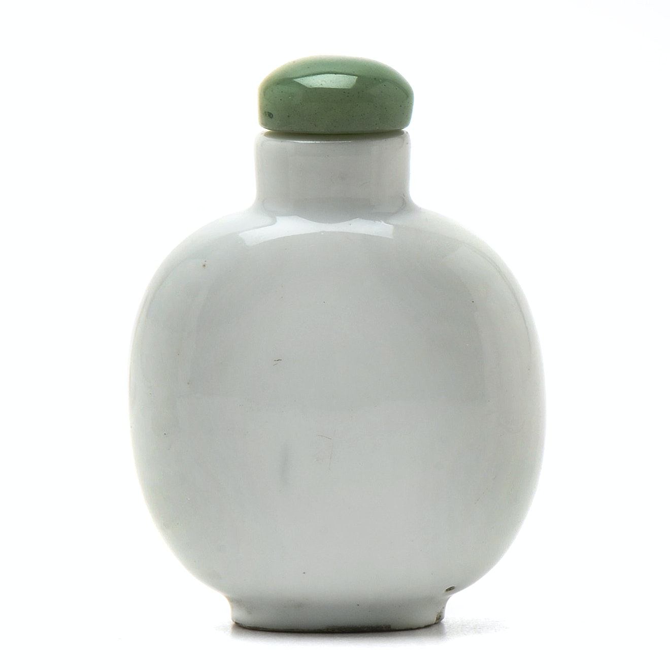 Qing Dynasty White Porcelain Snuff Bottle with Jade Stopper