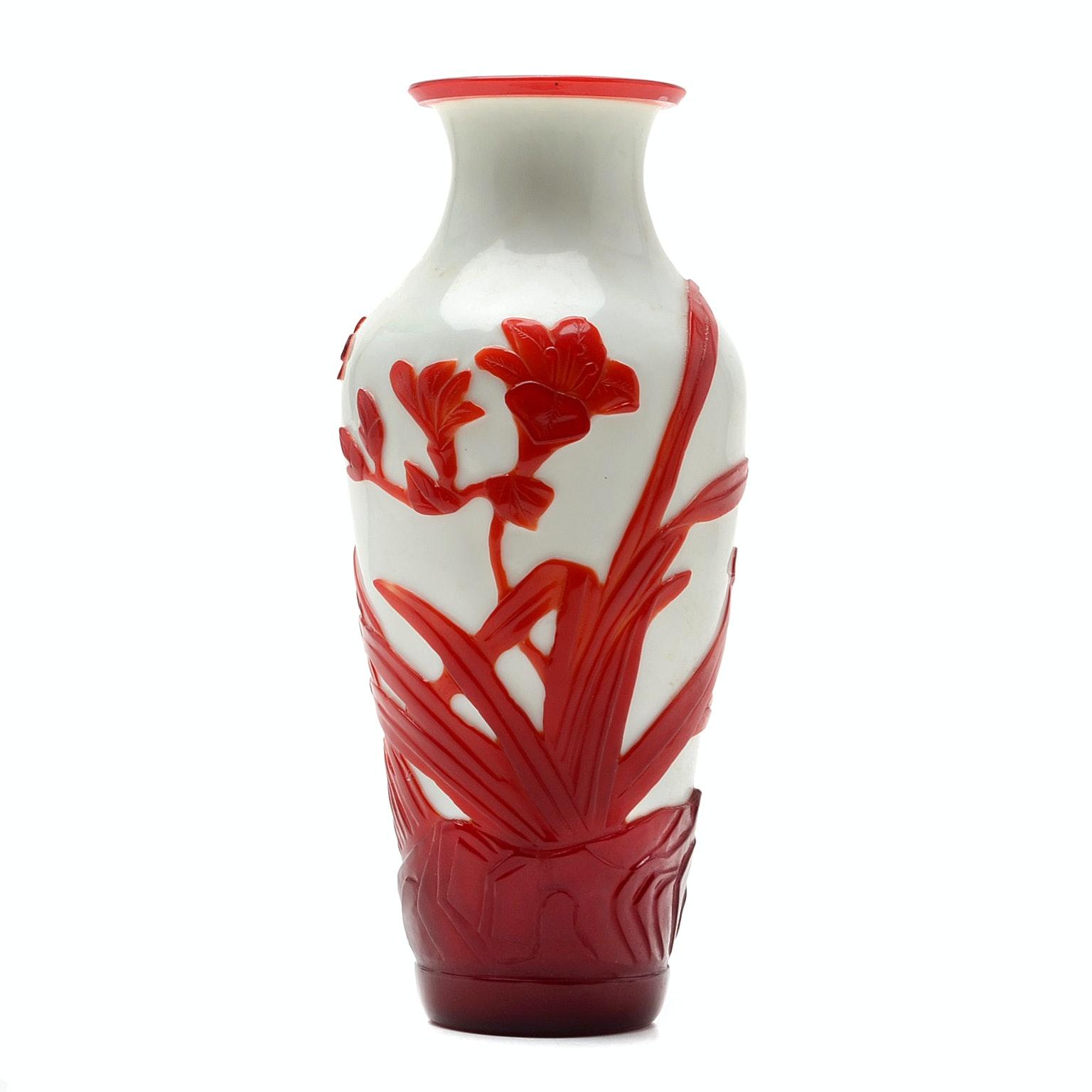 Chinese Red Overlay Peking Glass Vase