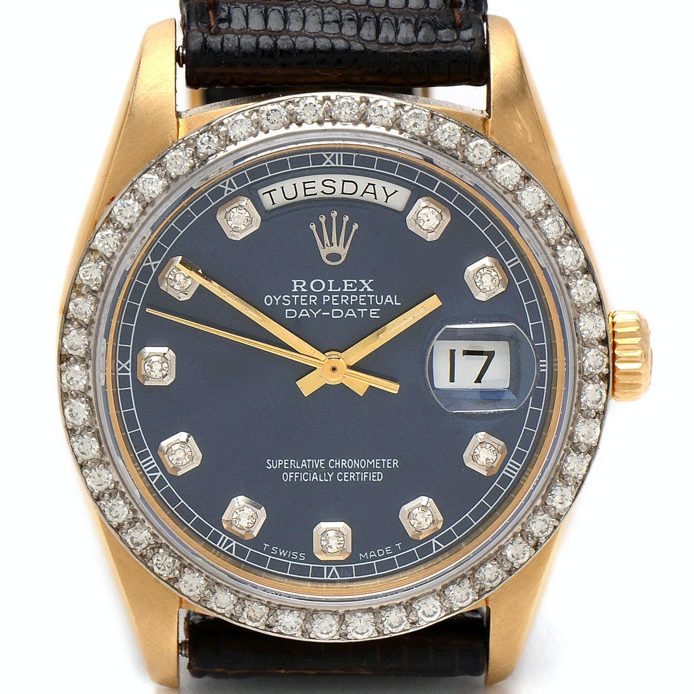 Rolex Day-Date 18K Yellow Gold Diamond Bezel 36mm Wristwatch