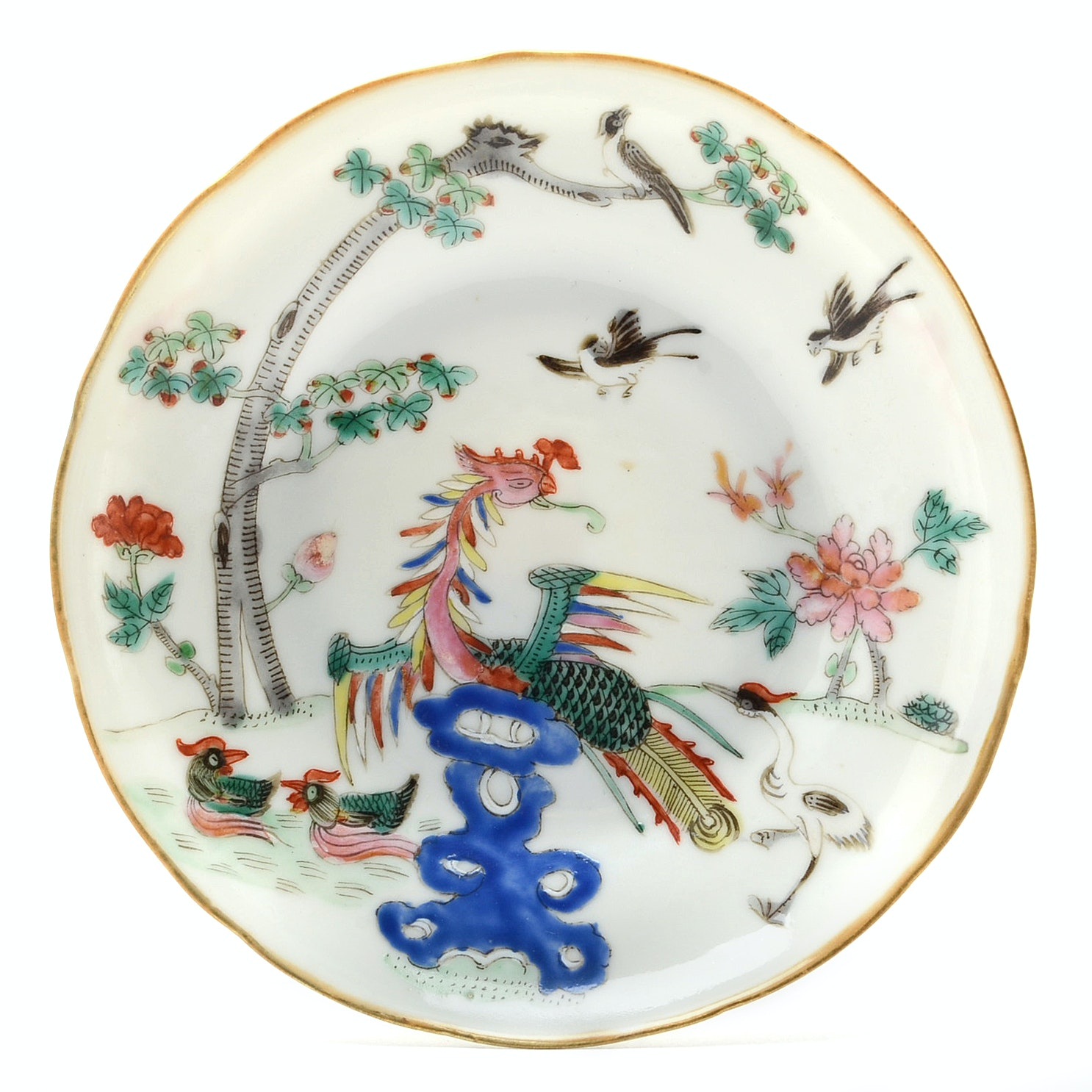 19th Century Daoguang Chinese Famille Rose with Peacock Motif Saucer
