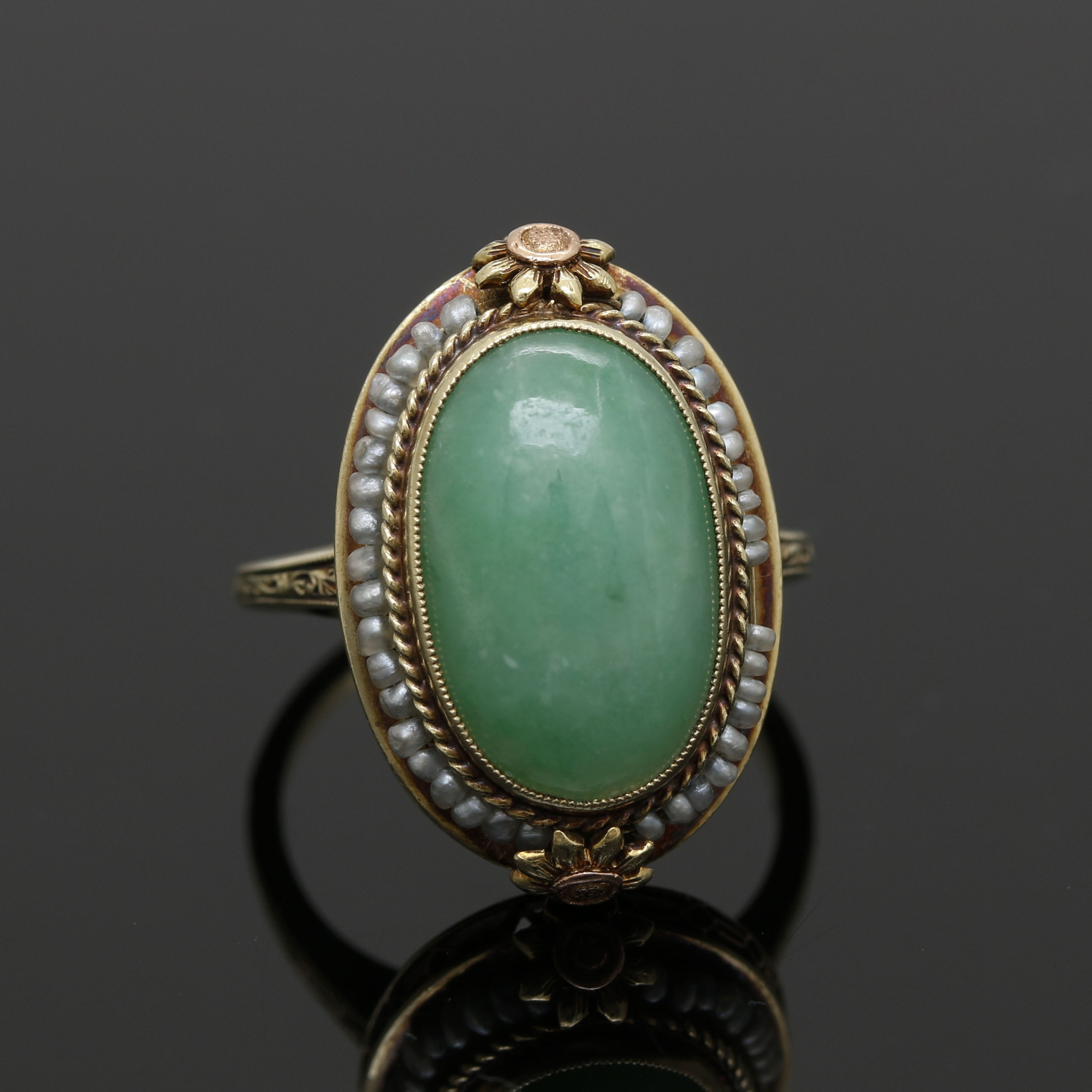14K Yellow Gold Jadeite and Seed Pearl Ring