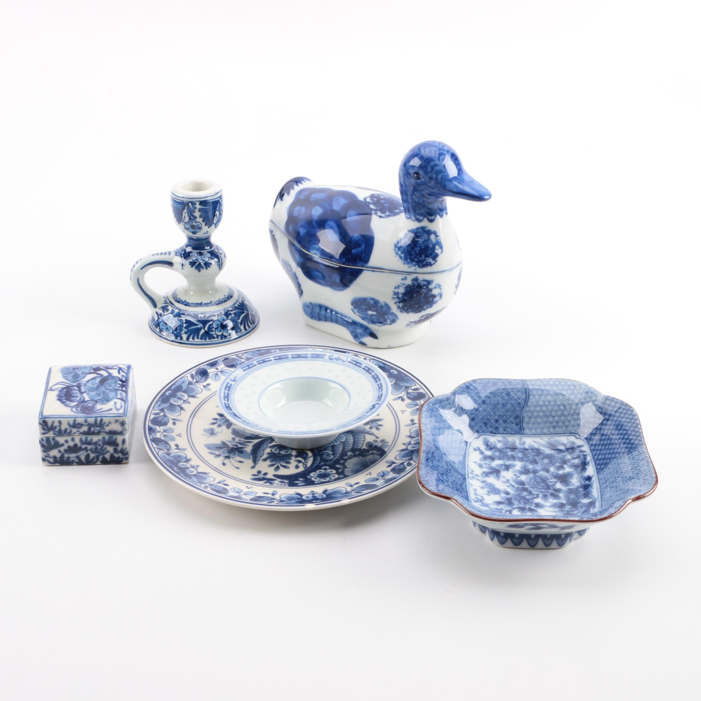 Assorted Blue and White Ceramic Decor Featuring Delft