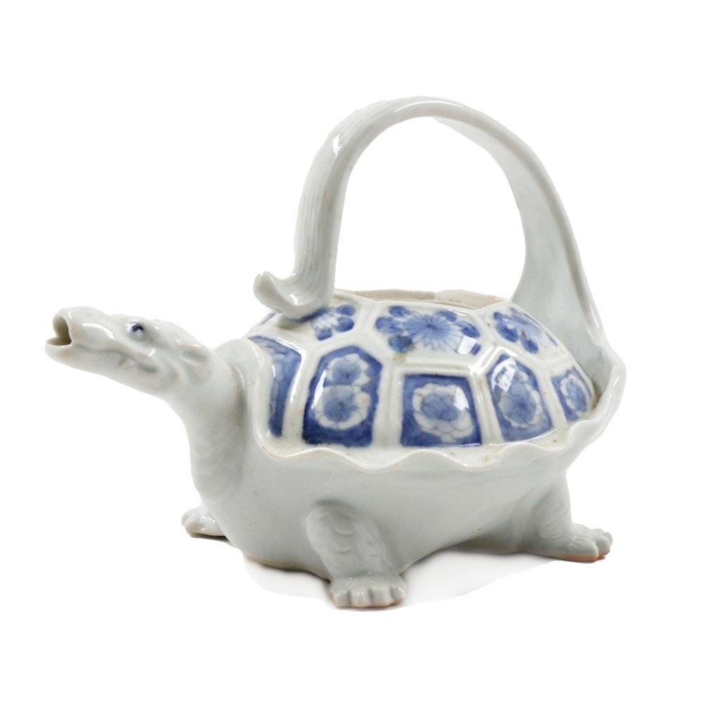 Antique Japanese Hirado Porcelain Turtle Shaped Vessel