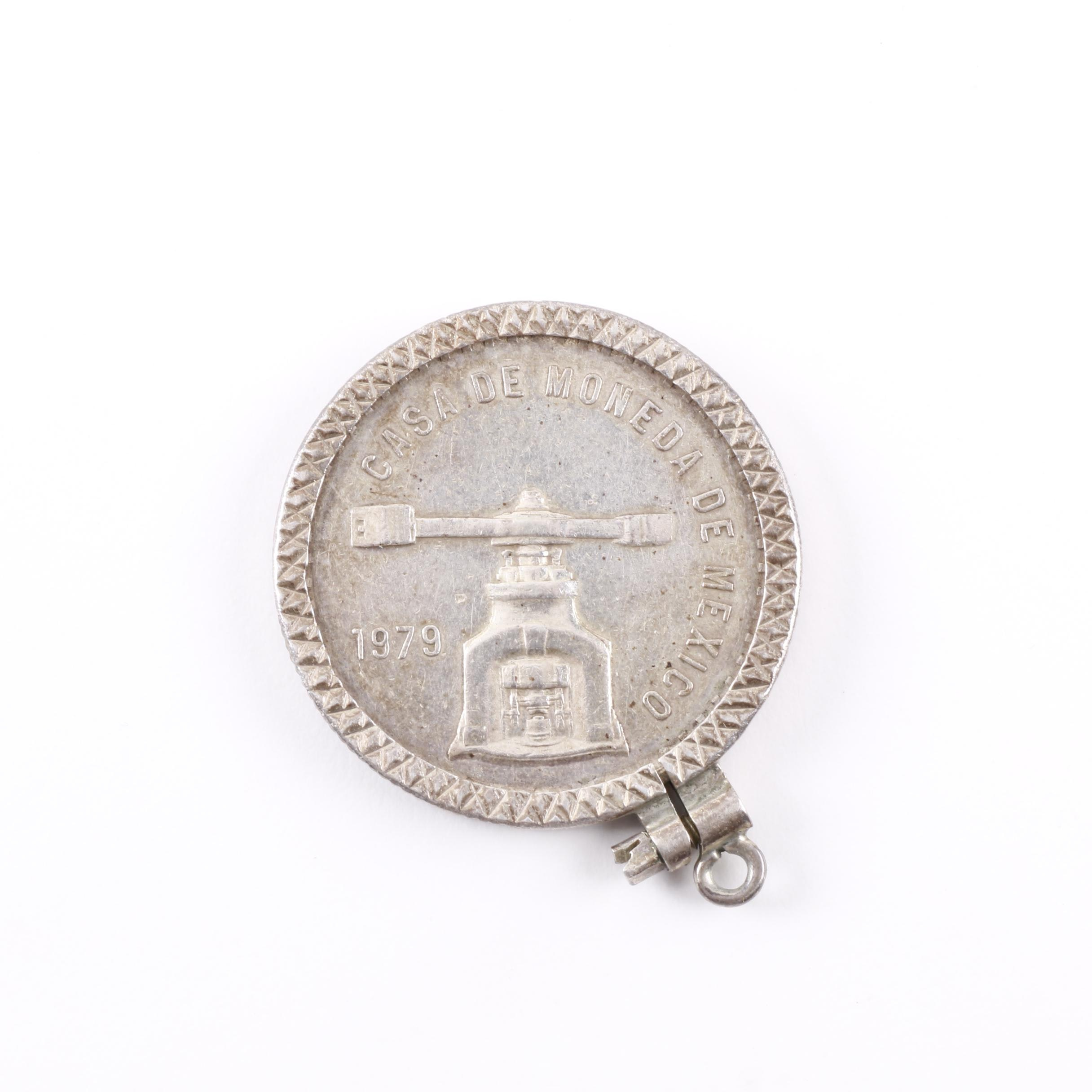 1979 Sterling Silver Mexican Onza Coin Pendant