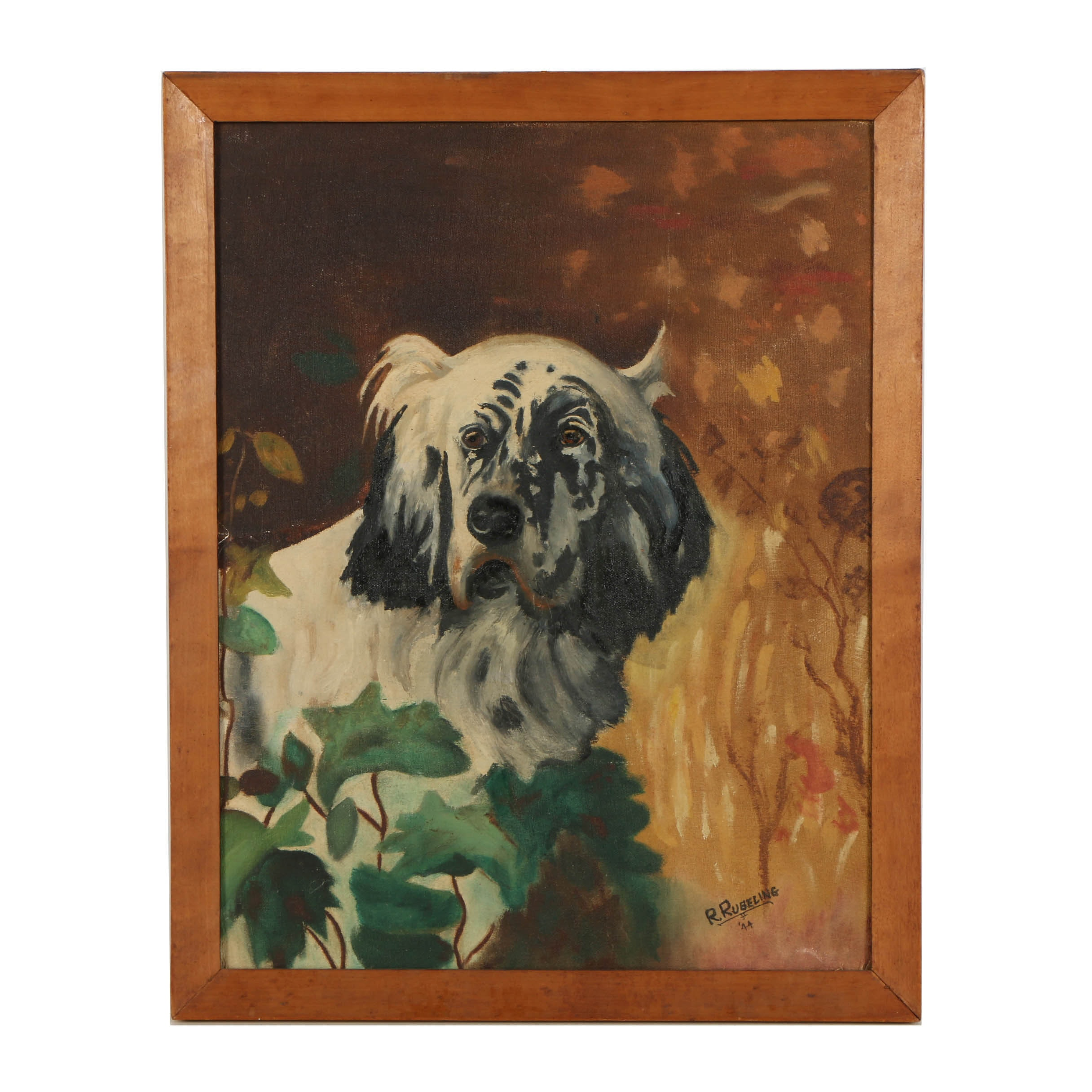 R. Rubeling 1944 Oil Painting on Wooden Panel of Dog Portrait