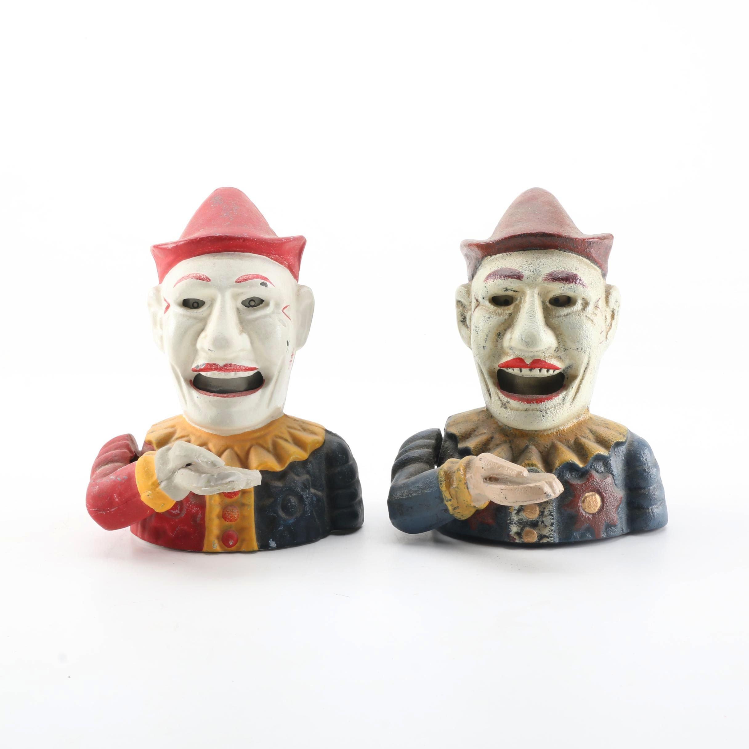Cast Iron Clown Mechanical Coin Banks