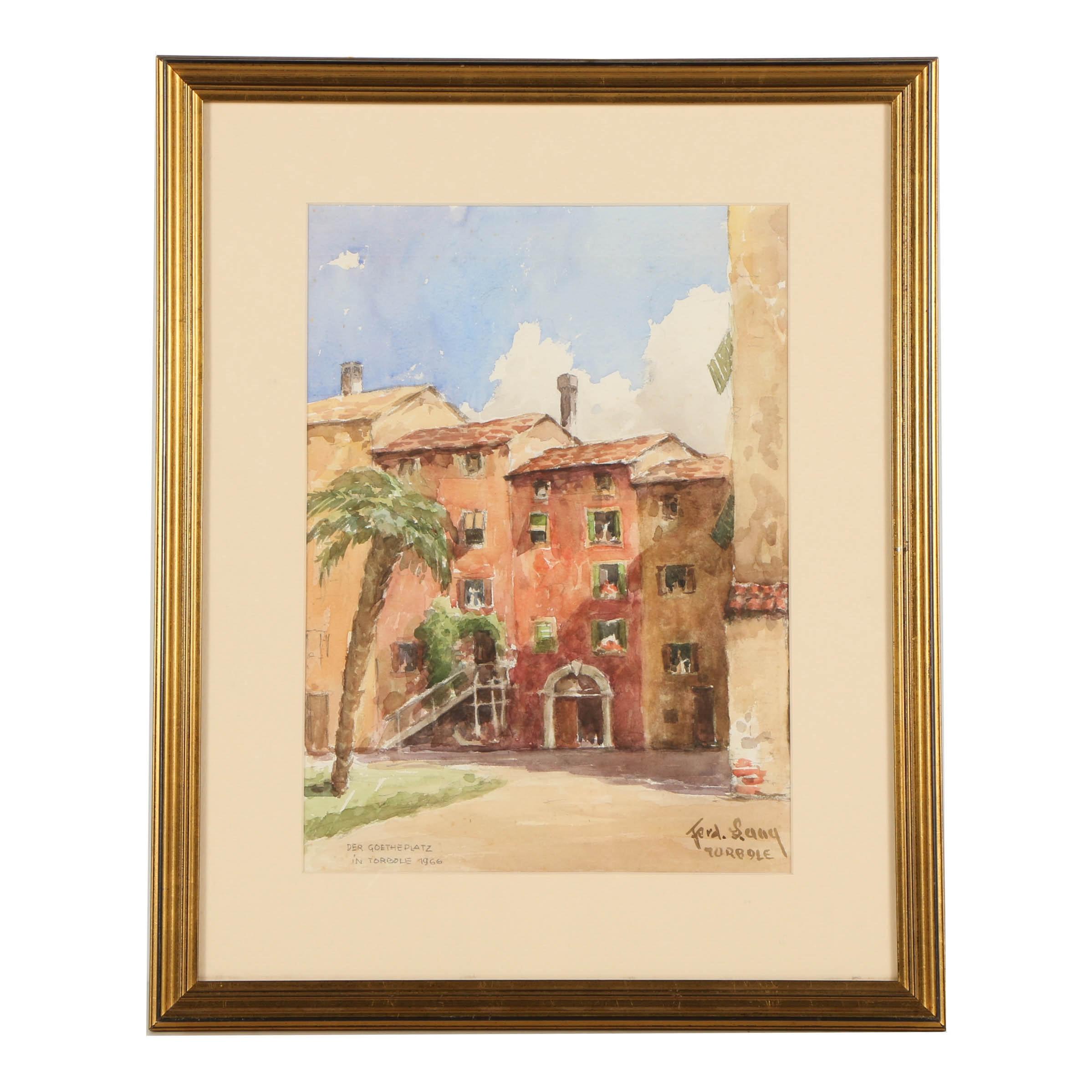 """1966 Watercolor Painting on Paper """"Der Goetheplatz in Torbole"""""""
