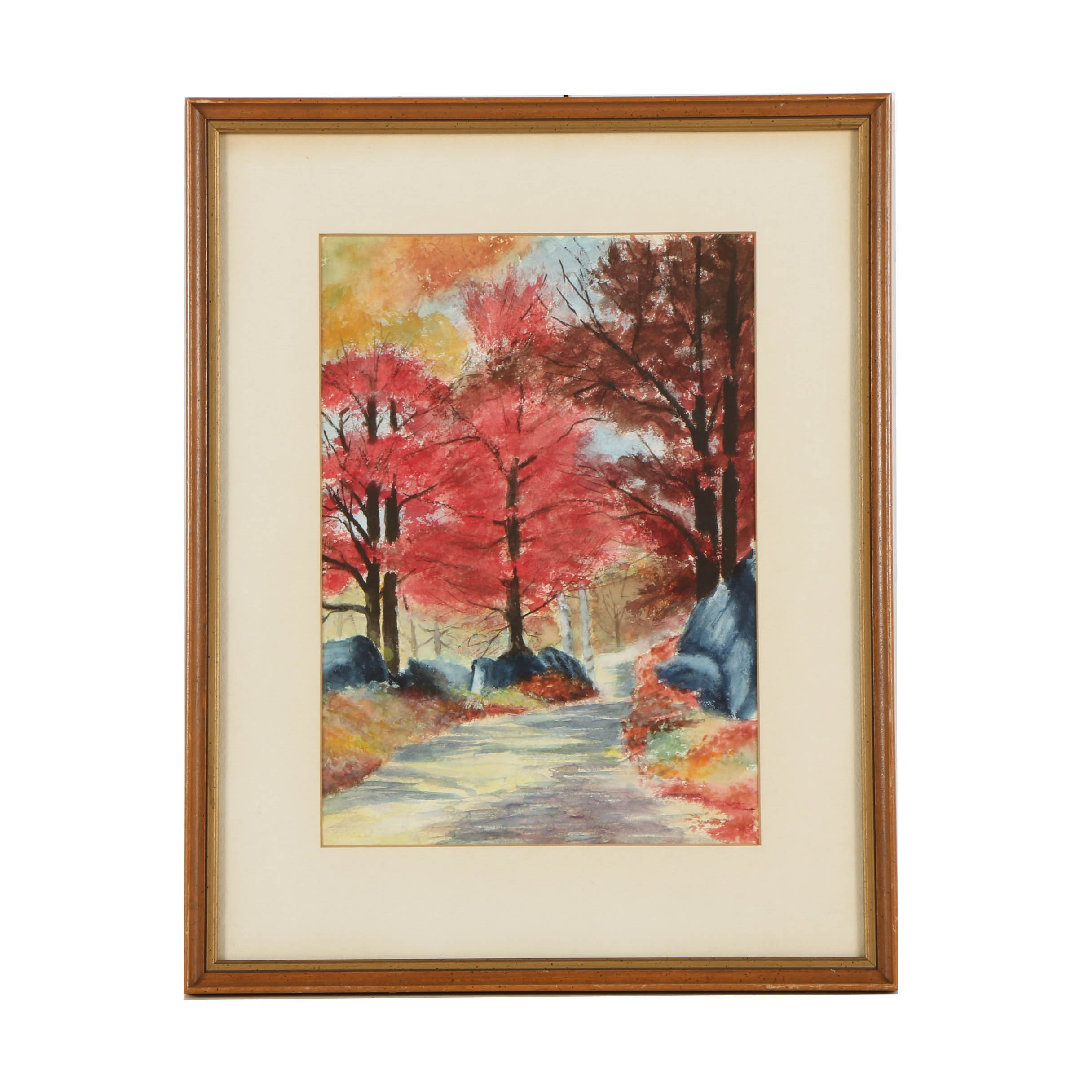 Circa 1961 Watercolor Painting on Paper of Colorful Autumn Landscape