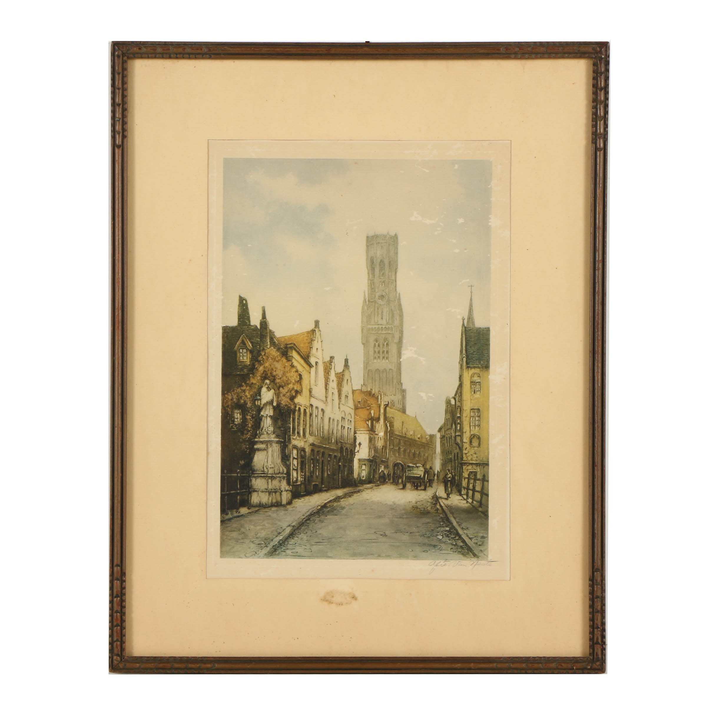 Color Etching of French Street Scene After Van Neste