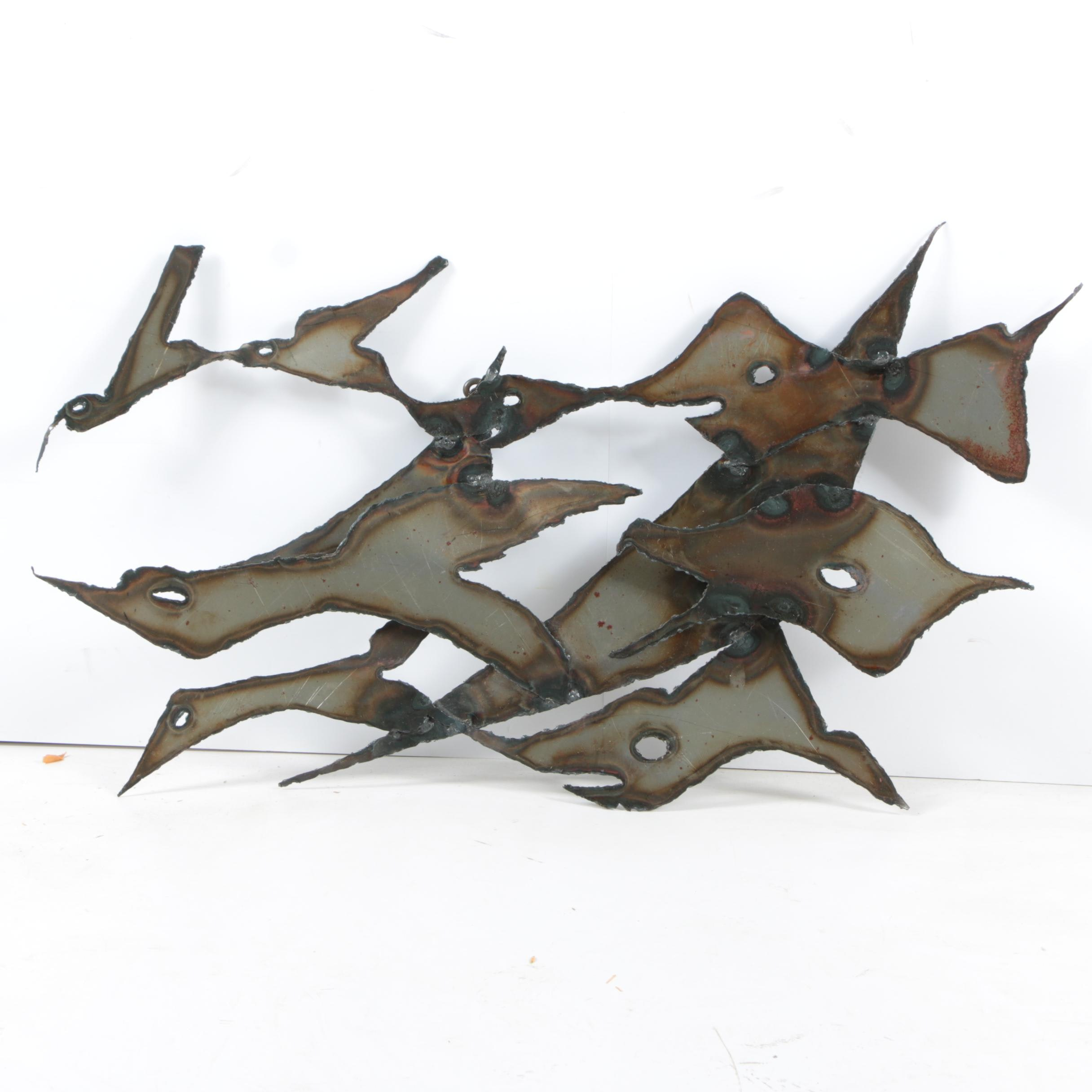 "1975 Iron Alloy Abstract Wall Sculpture ""Free as a Bird"""
