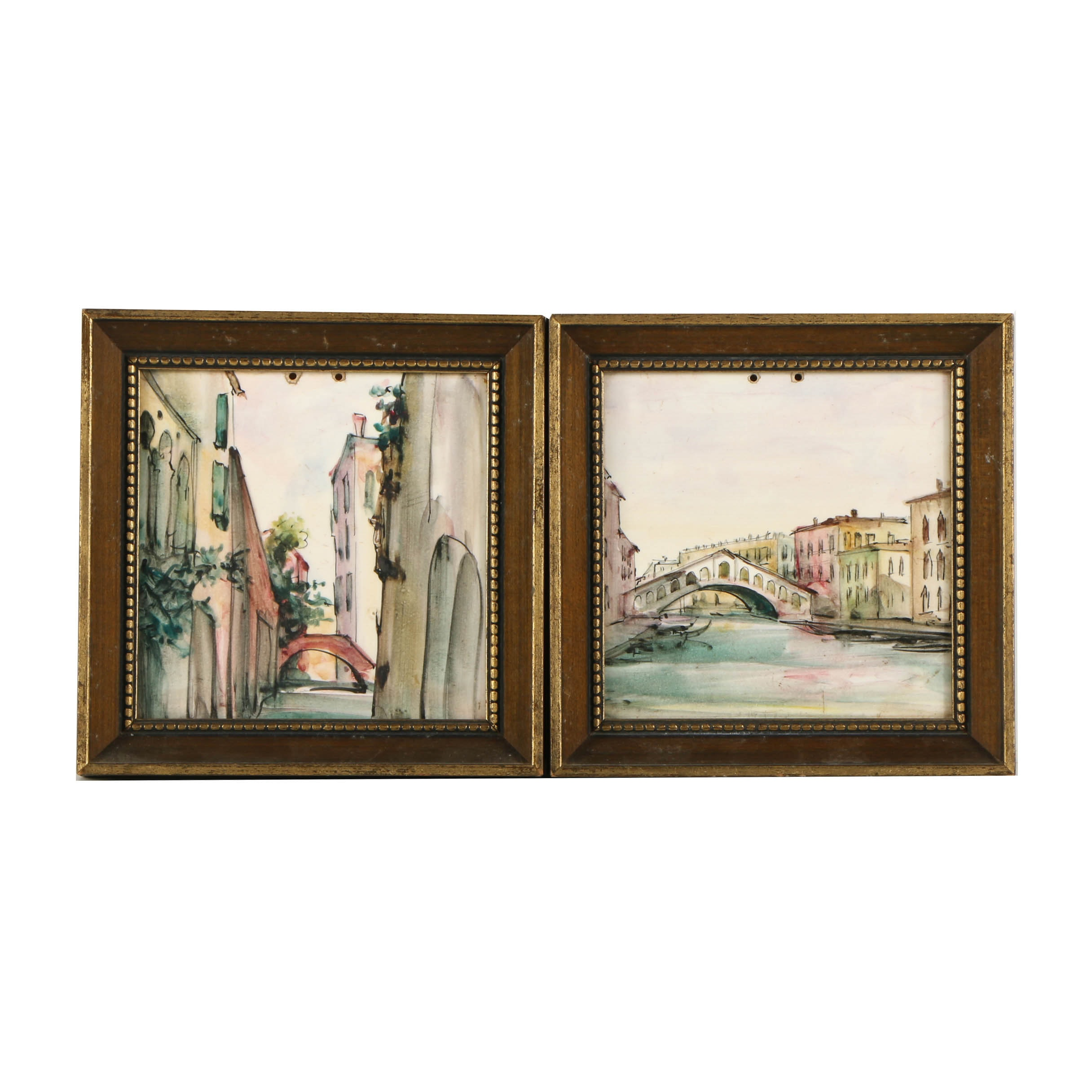 Hand-Painted Ceramic Tiles of Canal Scenes
