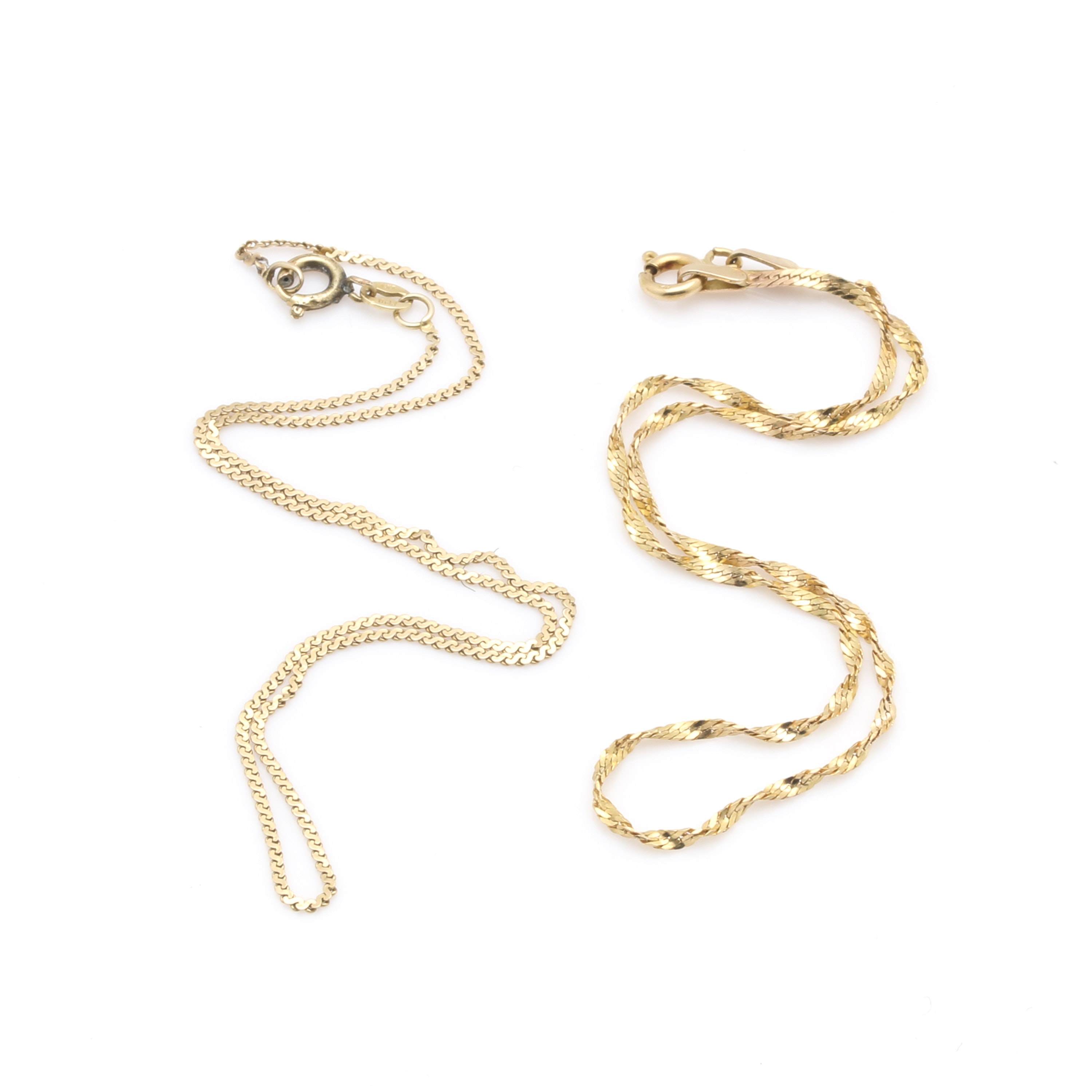 14K Yellow Gold S-Link and Twisted Curb Chain Bracelets