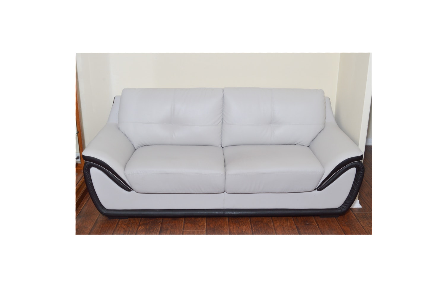 Grey Contemporary Style Leather Sofa