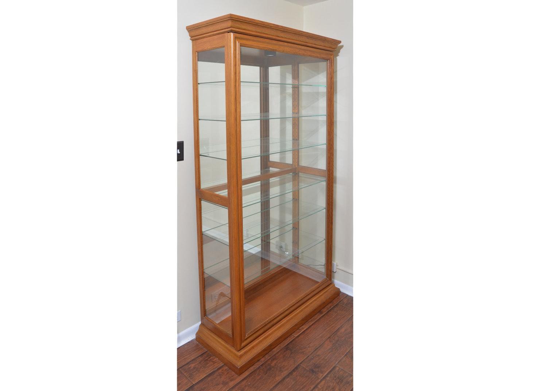 Oak Sliding Door Curio Cabinet