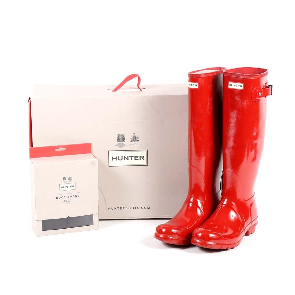 Hunter Original Tall Military Red Rain Boots and Boot Socks