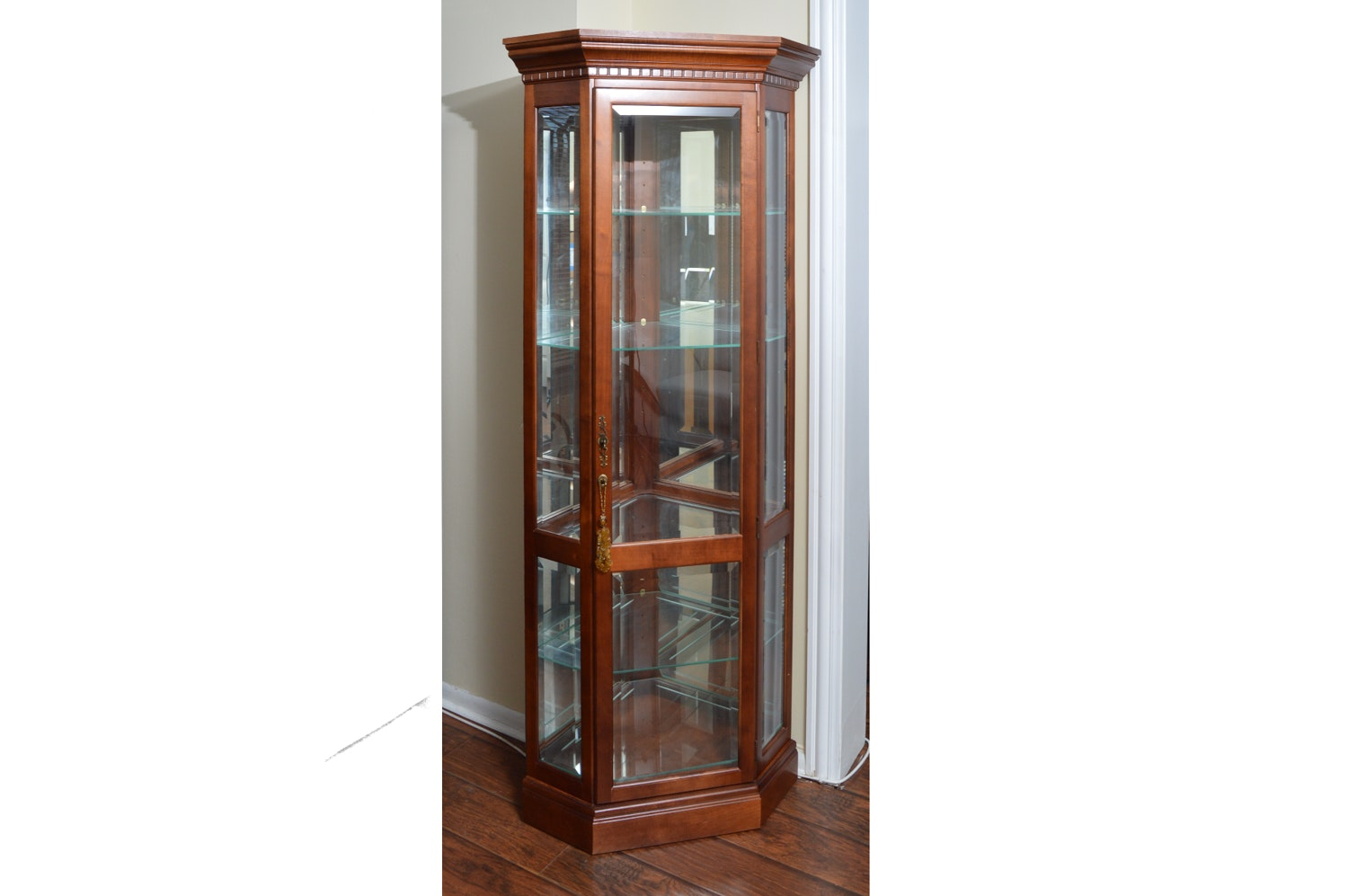 Traditional Cherry Corner Curio Cabinet