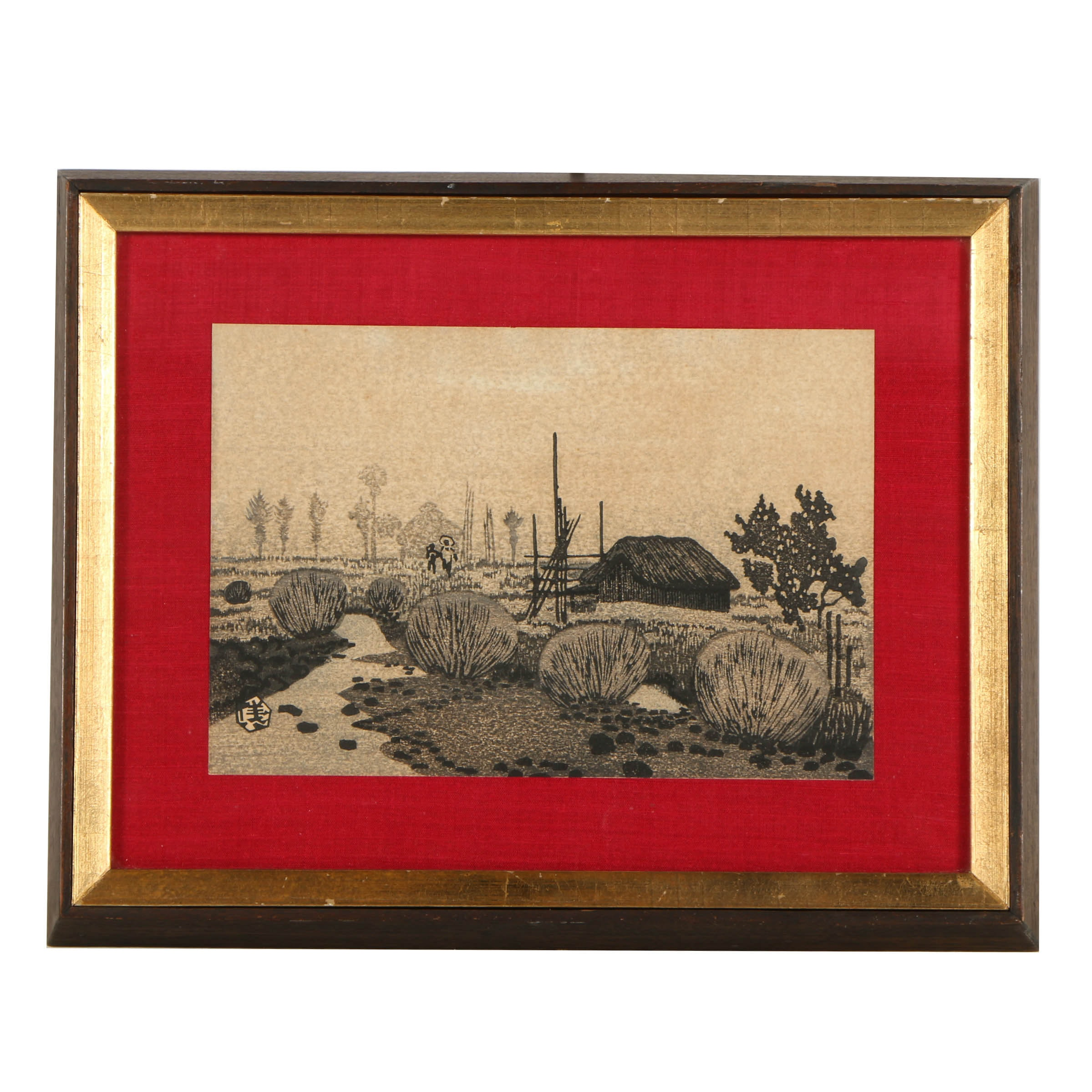 Lithograph Print on Paper of Southeast Asian Landscape Scene
