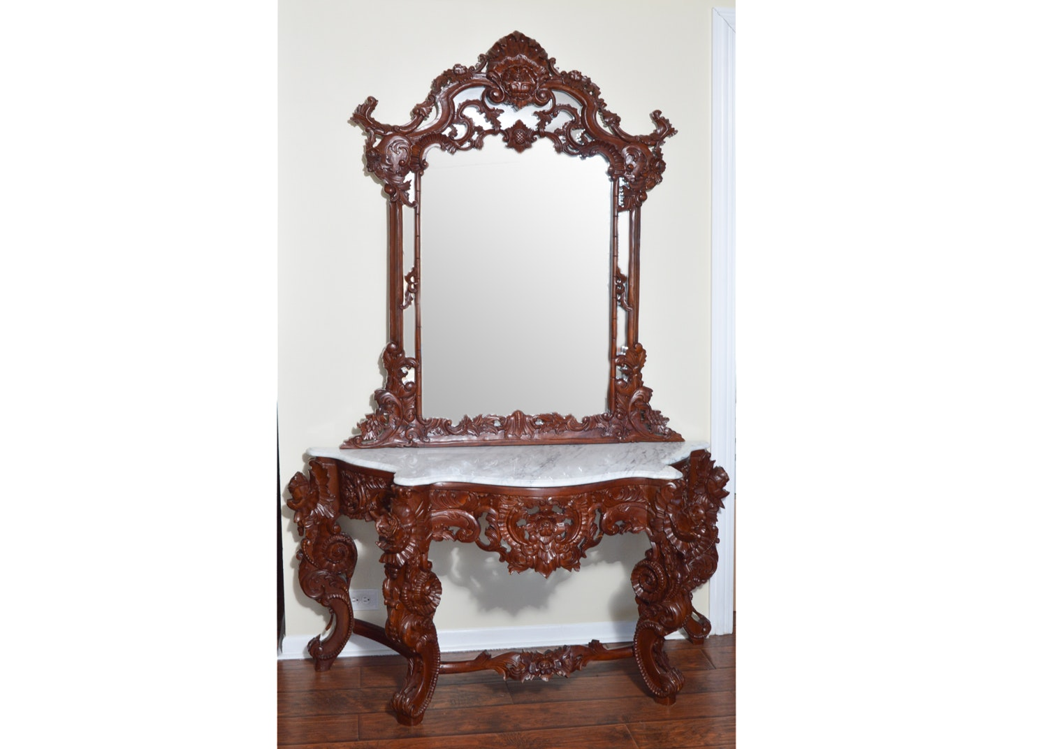 Asian Carved Hardwood Mirrored Console Table