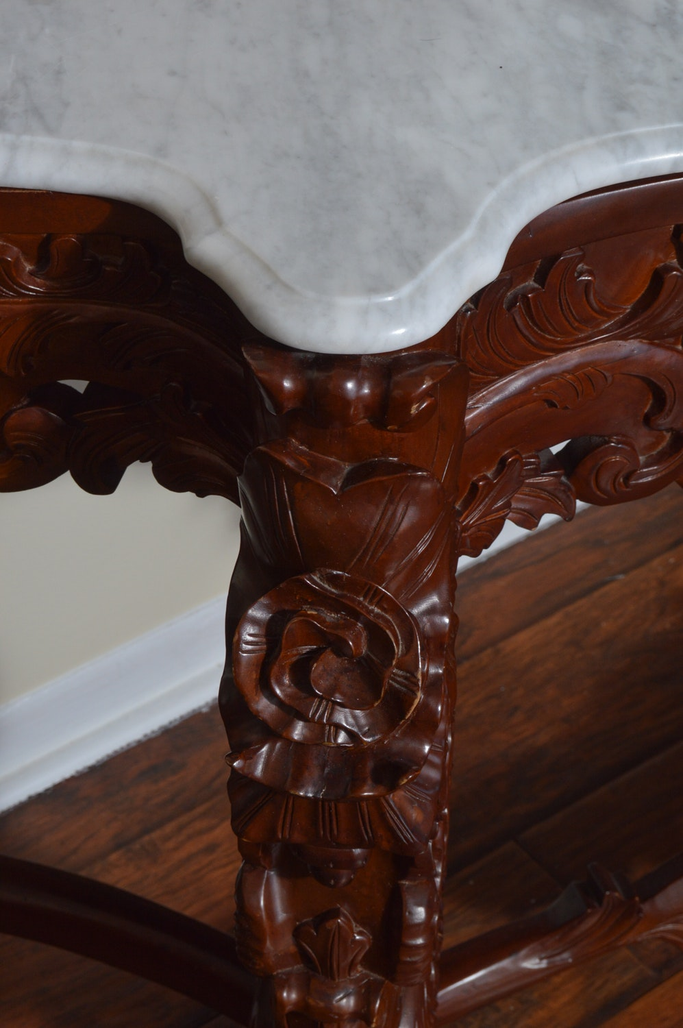 Asian Carved Hardwood Mirrored Console Table Ebth