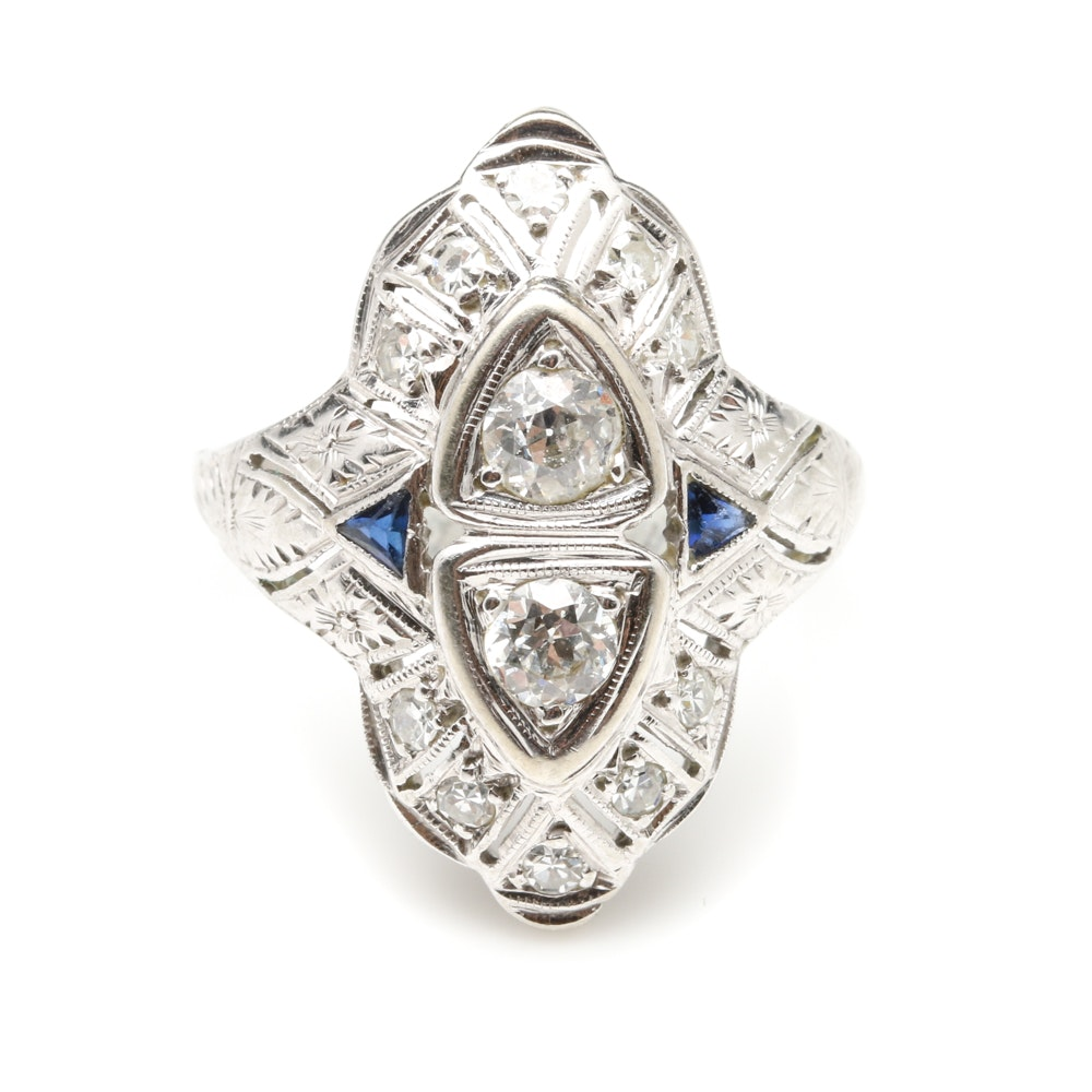 Edwardian Style 18K White Gold Diamond and Sapphire Dinner Ring