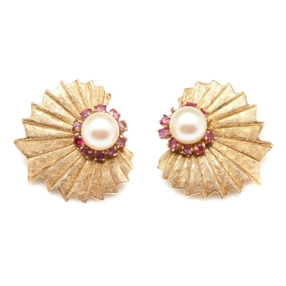 1950's Retro 14K Yellow Gold Cultured Pearl and Ruby Clip-On Earrings
