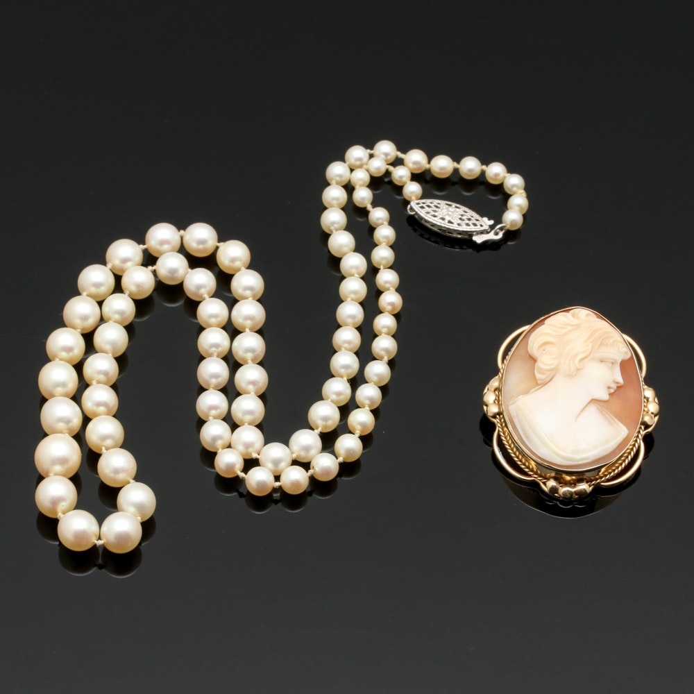 14K and 10K Gold Shell Cameo Pendant Brooch and Cultured Pearl Necklace