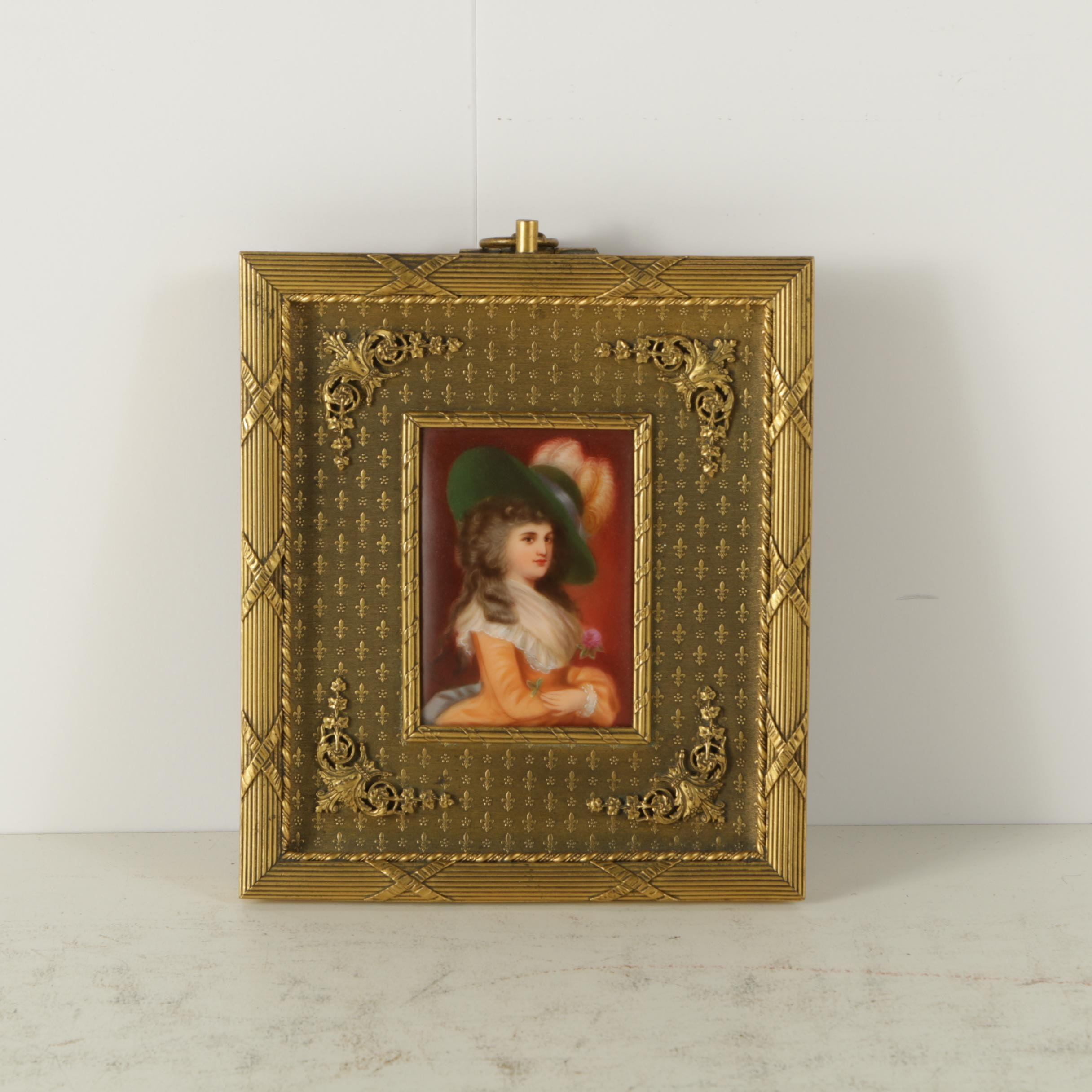 Antique Miniature Enamel Portrait on Porcelain of Woman