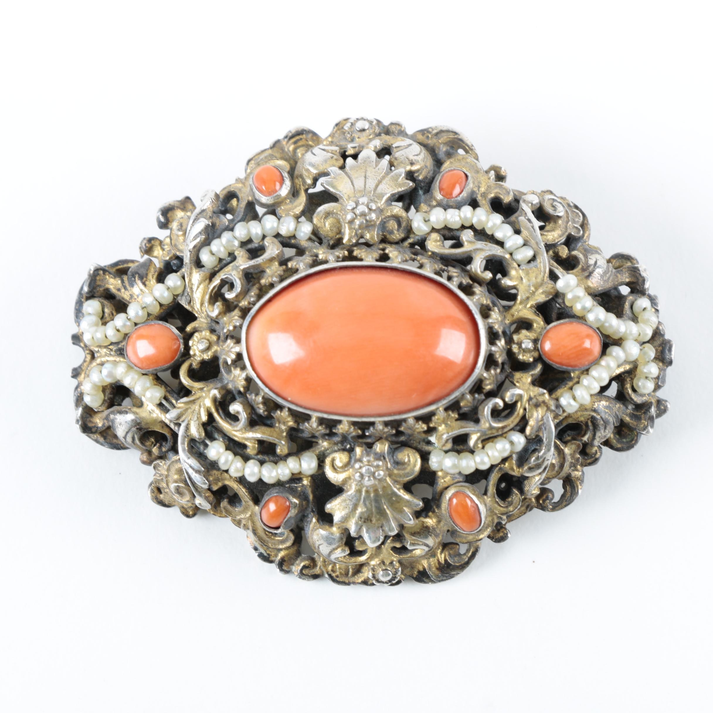 Antique Gold Wash Sterling Silver and Coral Brooch