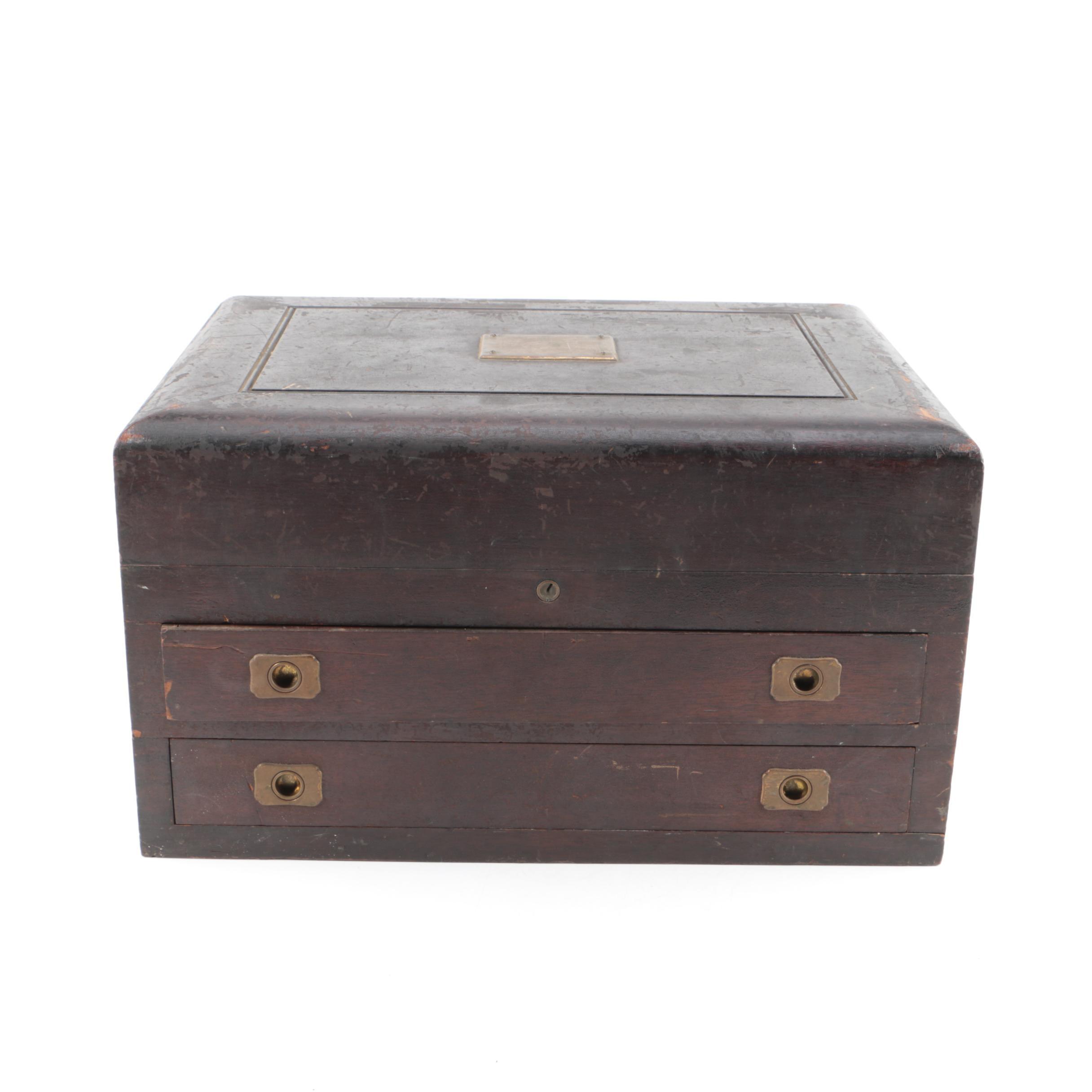 Vintage Wooden Flatware Storage Box
