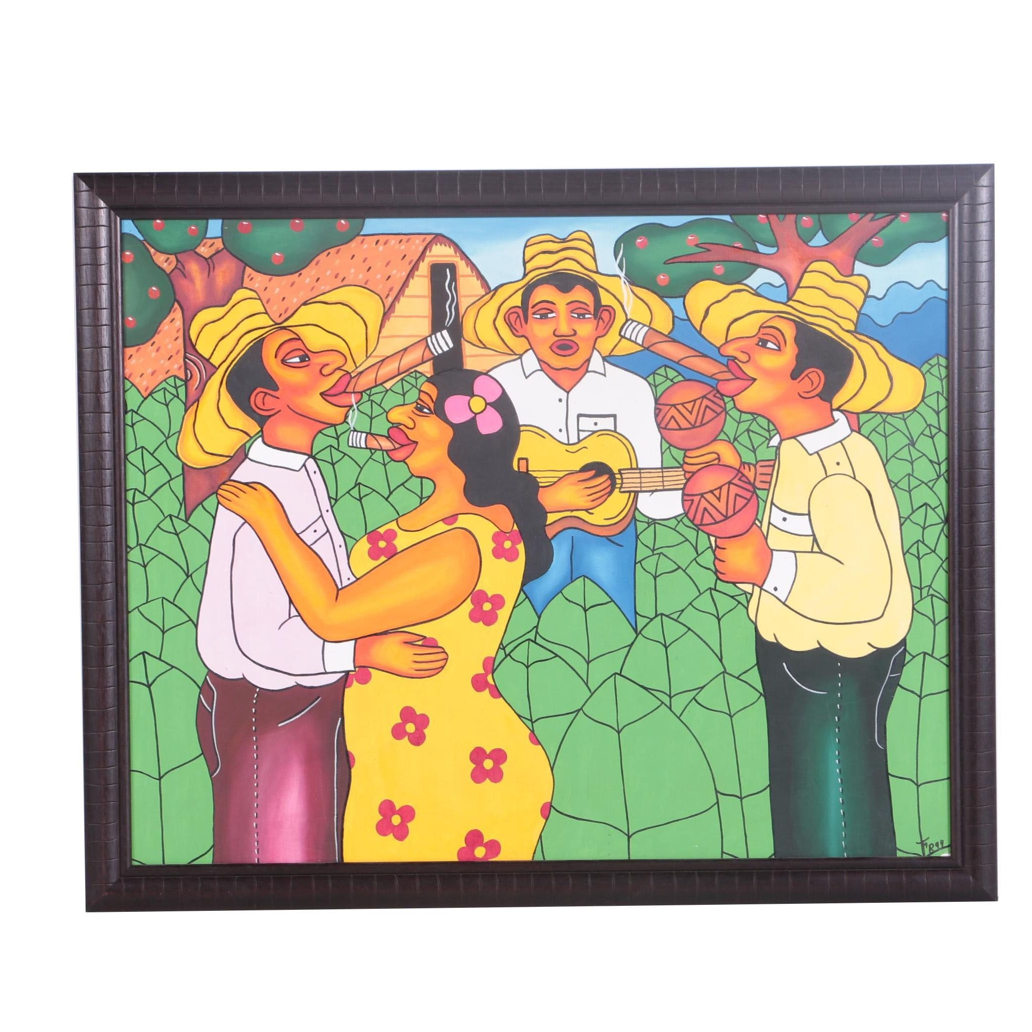 F.R. Oil on Canvas of People Smoking Cigars