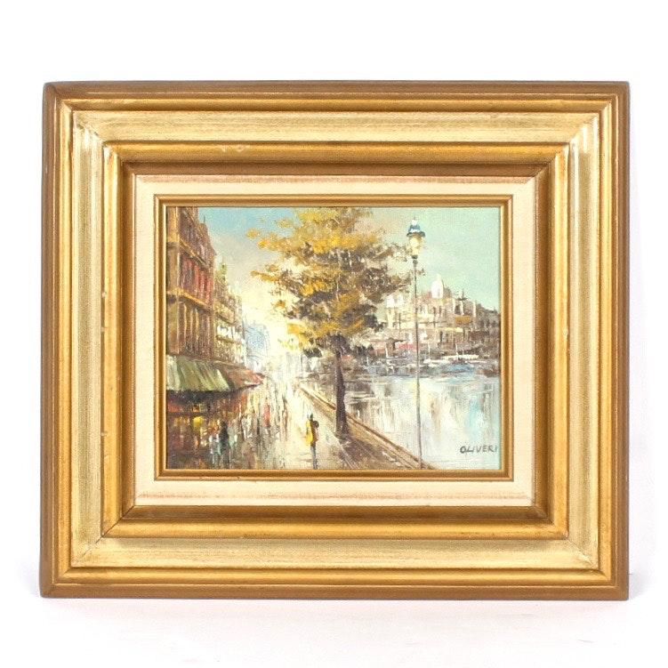 Oliveri Oil on Canvas Parisian Streetscene