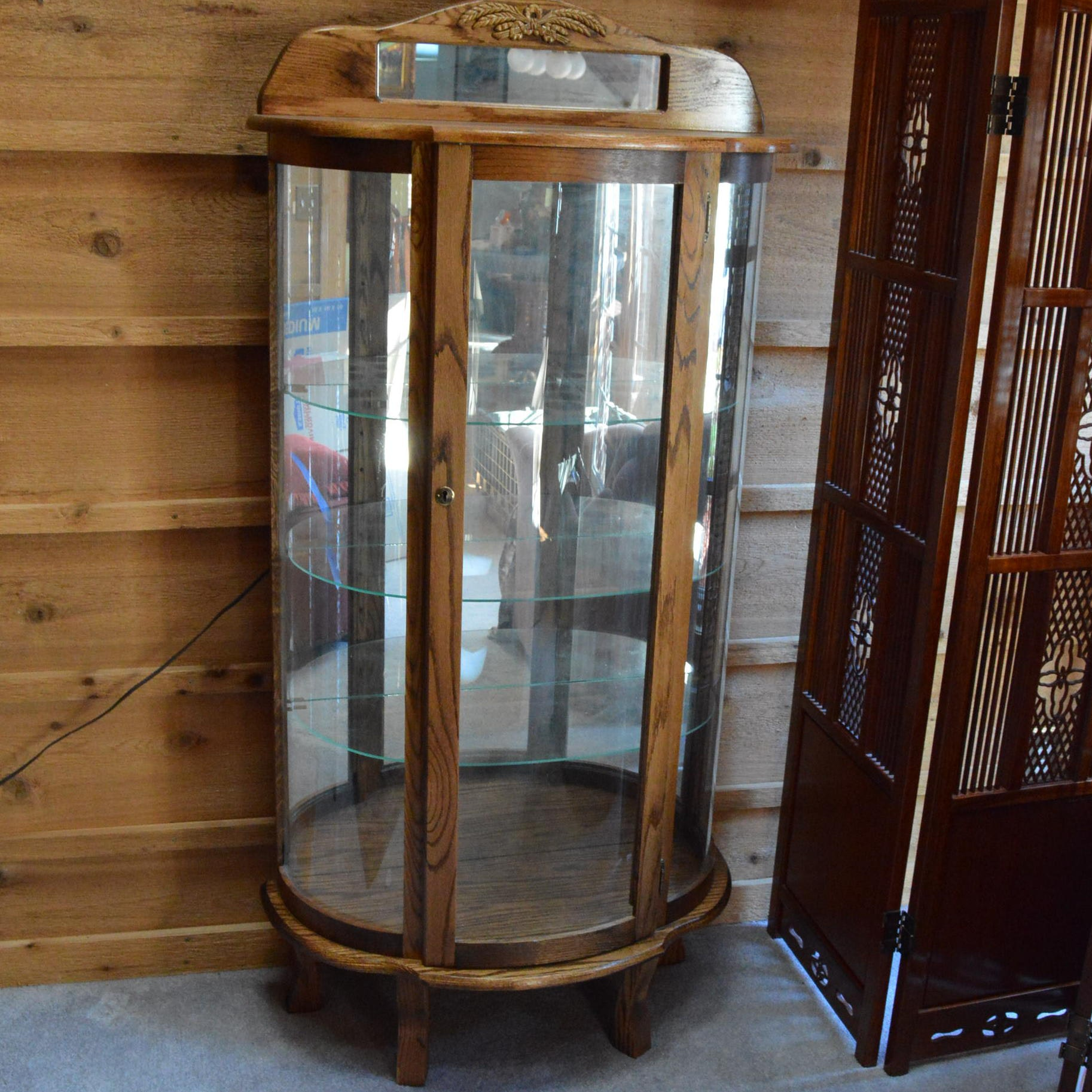 Oak Demilune Curio Cabinet