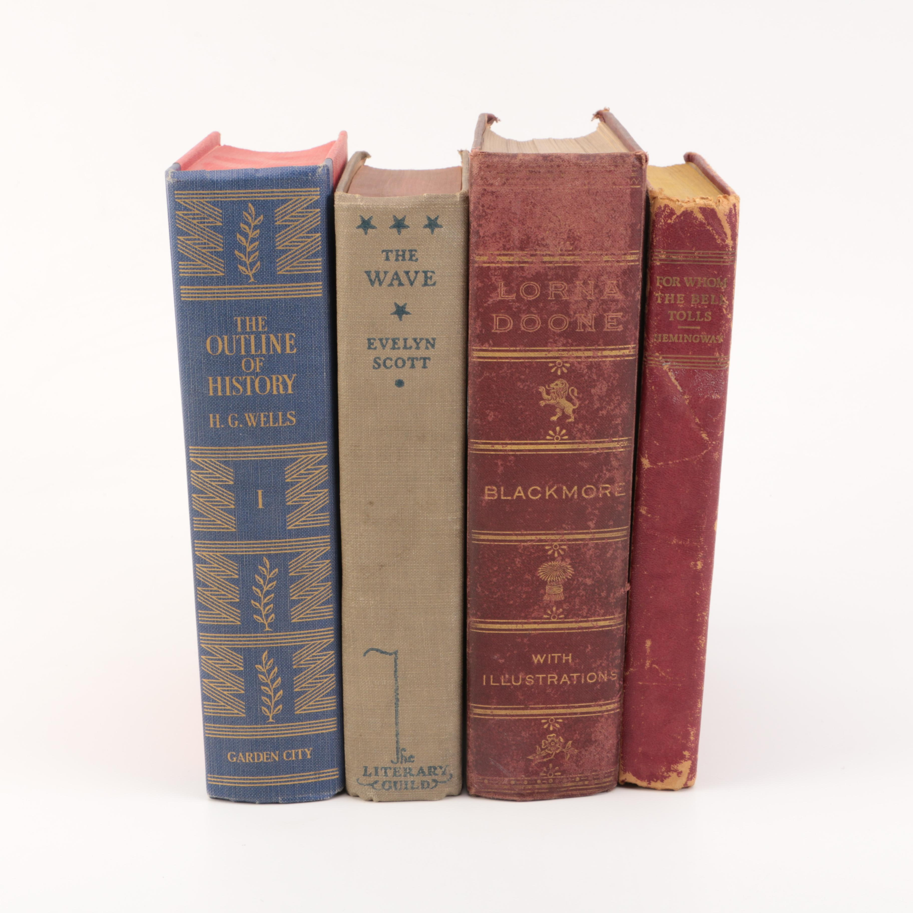 "Assorted Vintage Hardcover Books featuring ""For Whom the Bell Tolls"""
