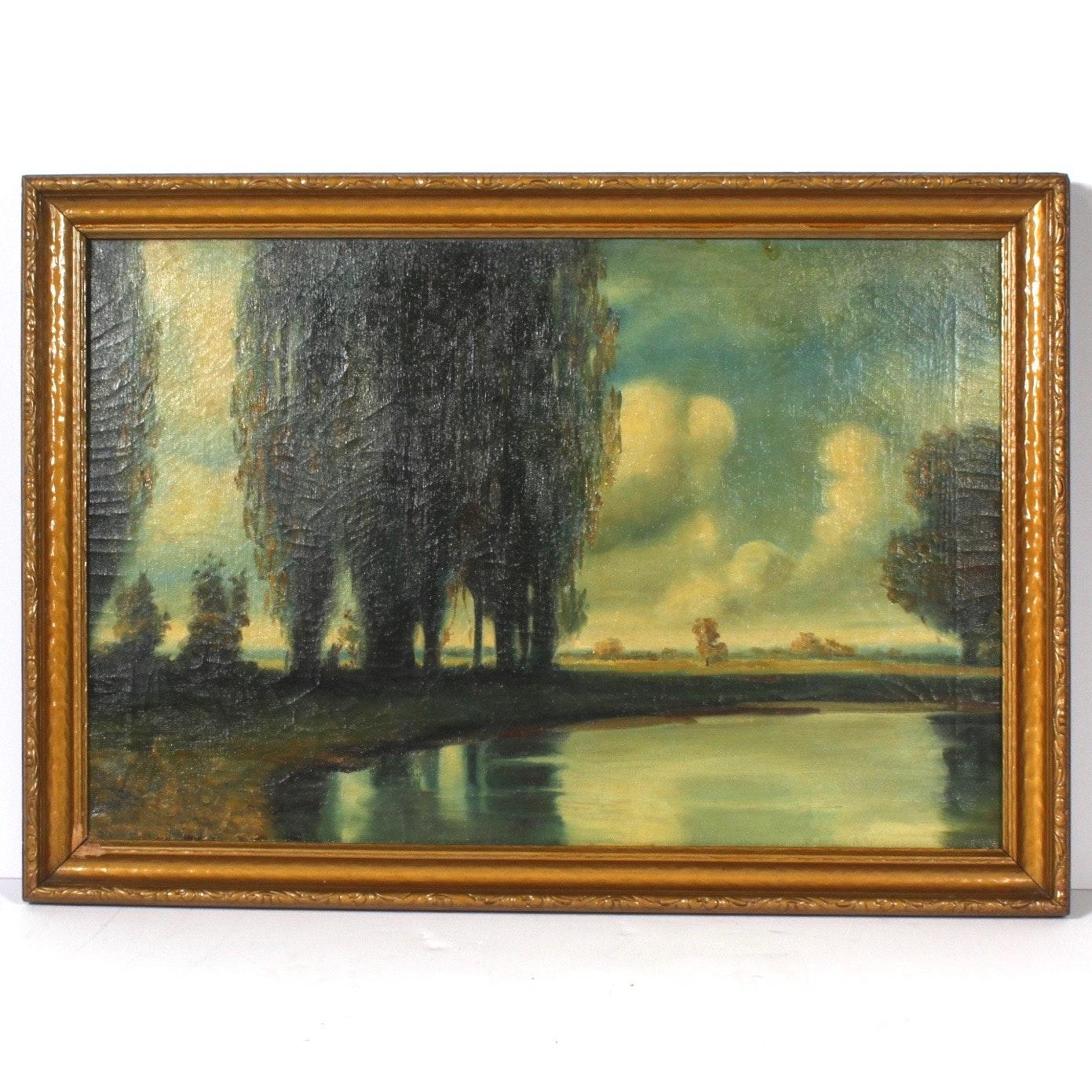 Antique Landscape Oil Painting on Canvas