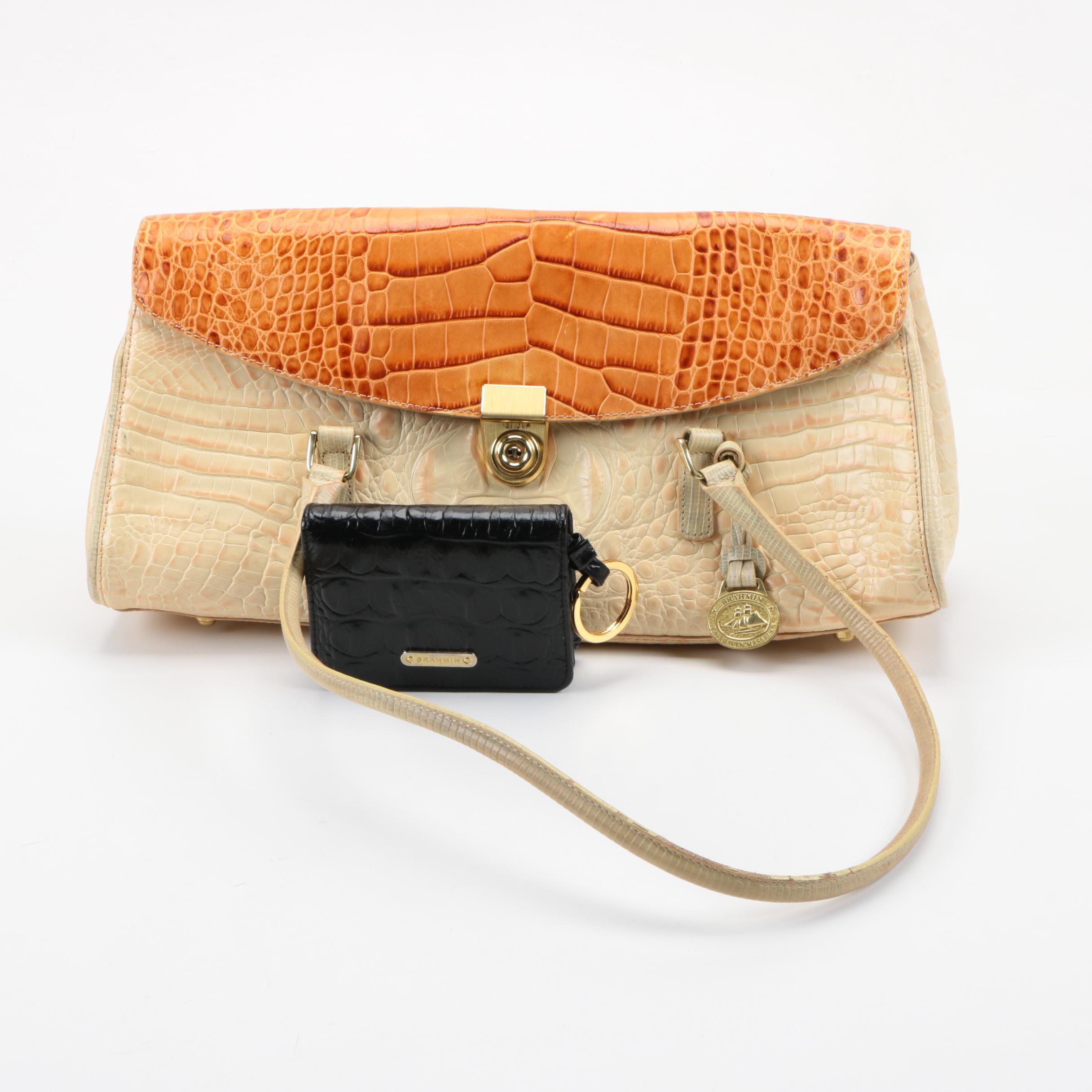 Brahmin Embossed Leather Handbag with Wallet