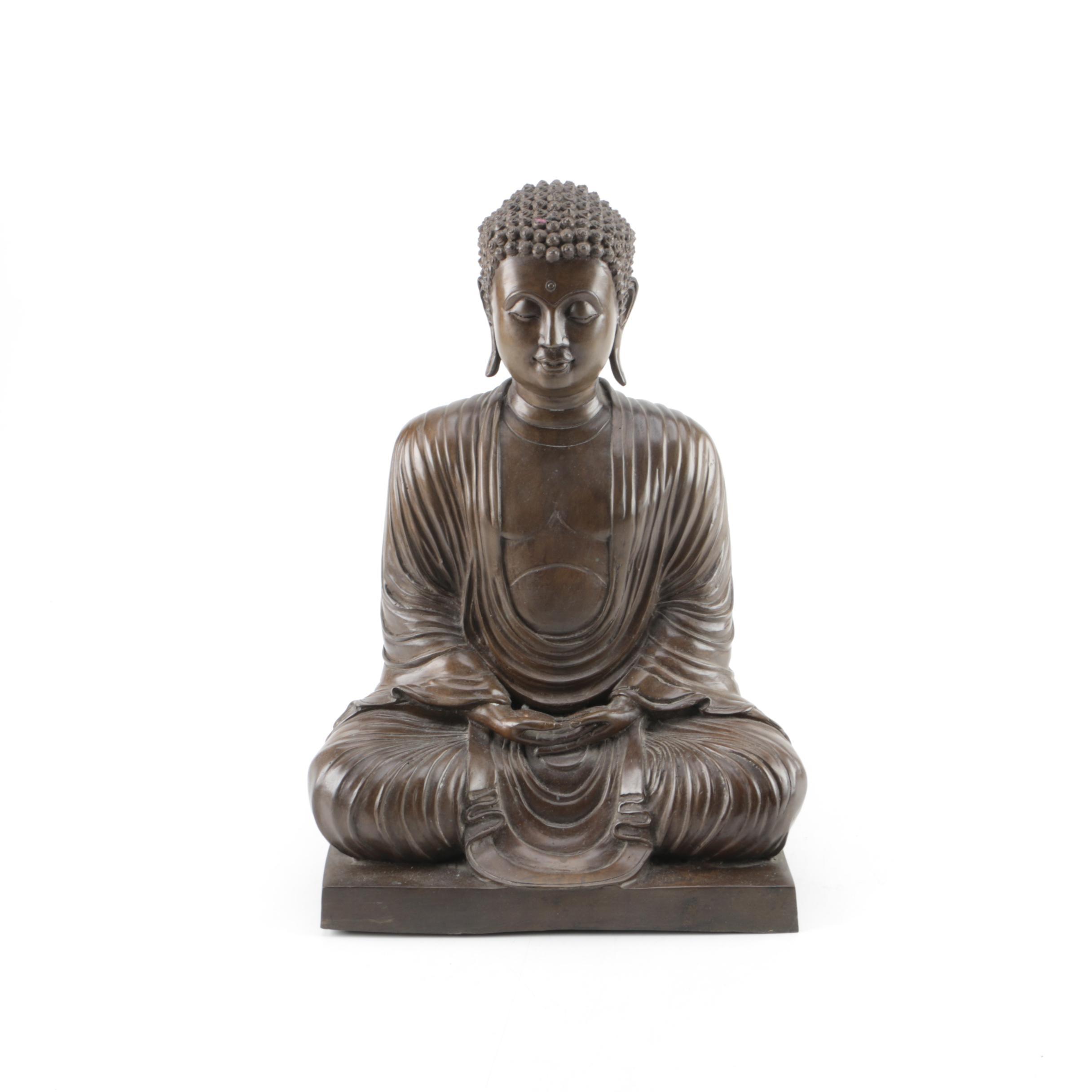Japanese Bronze Seated Buddha Statuette