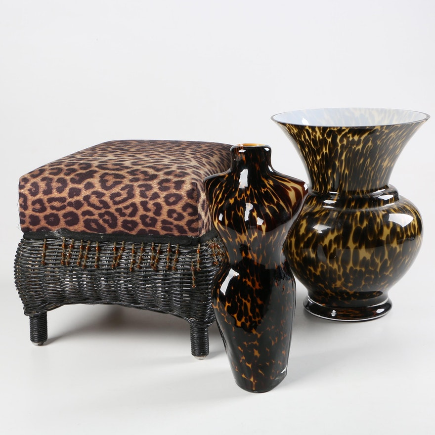 Leopard Print Footstool With Glass Vases Ebth